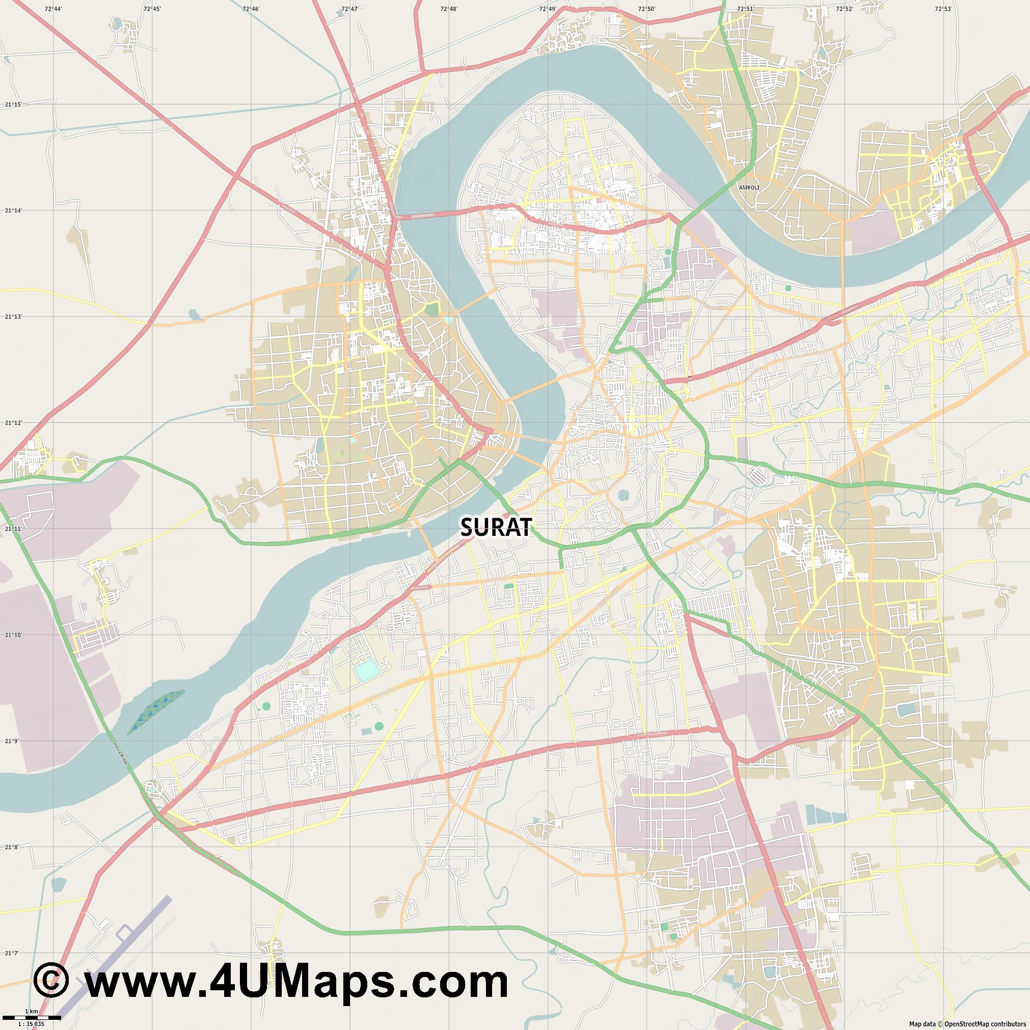 Surat  jpg high detail, large area preview vector city map