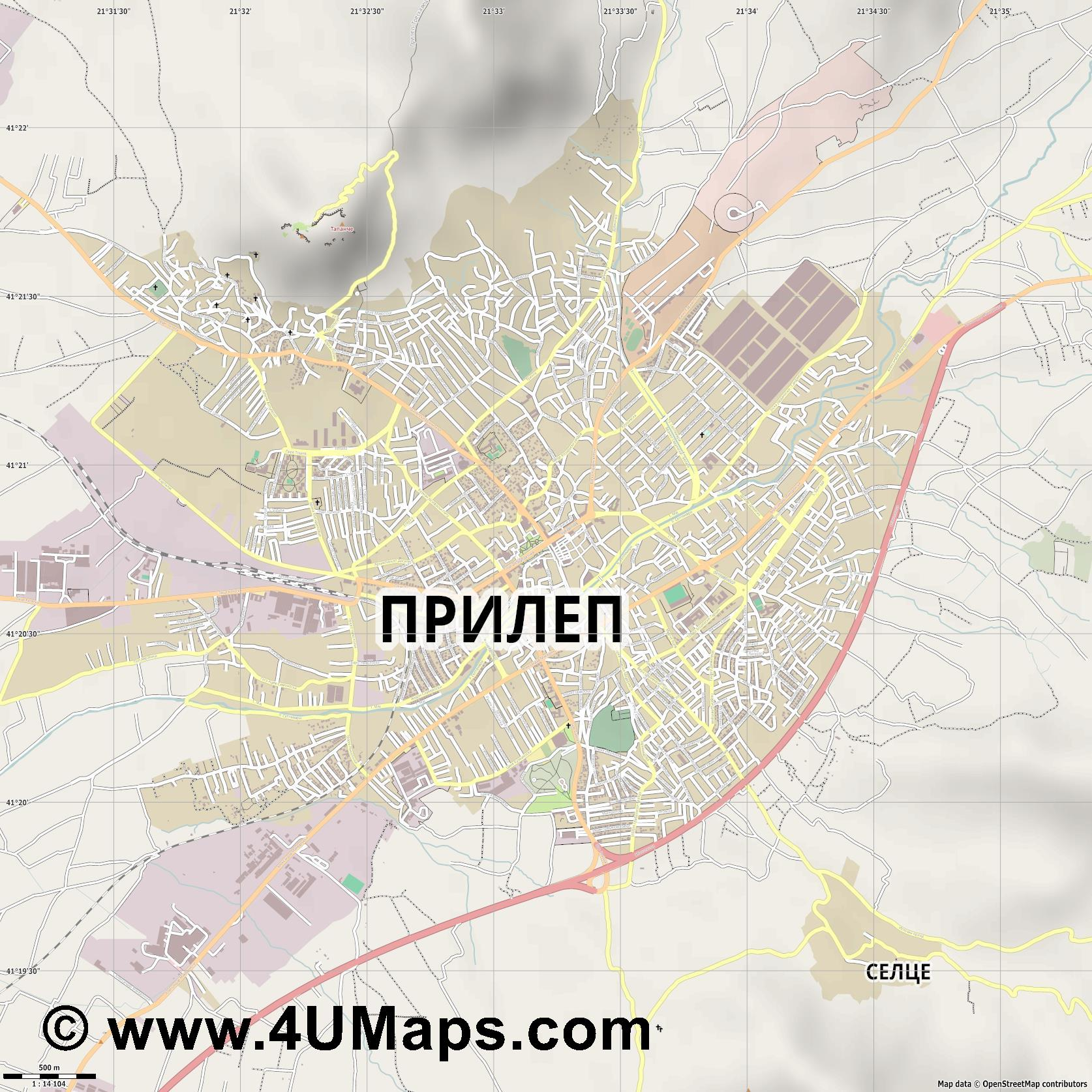 Прилеп Prilep  jpg ultra high detail preview vector city map