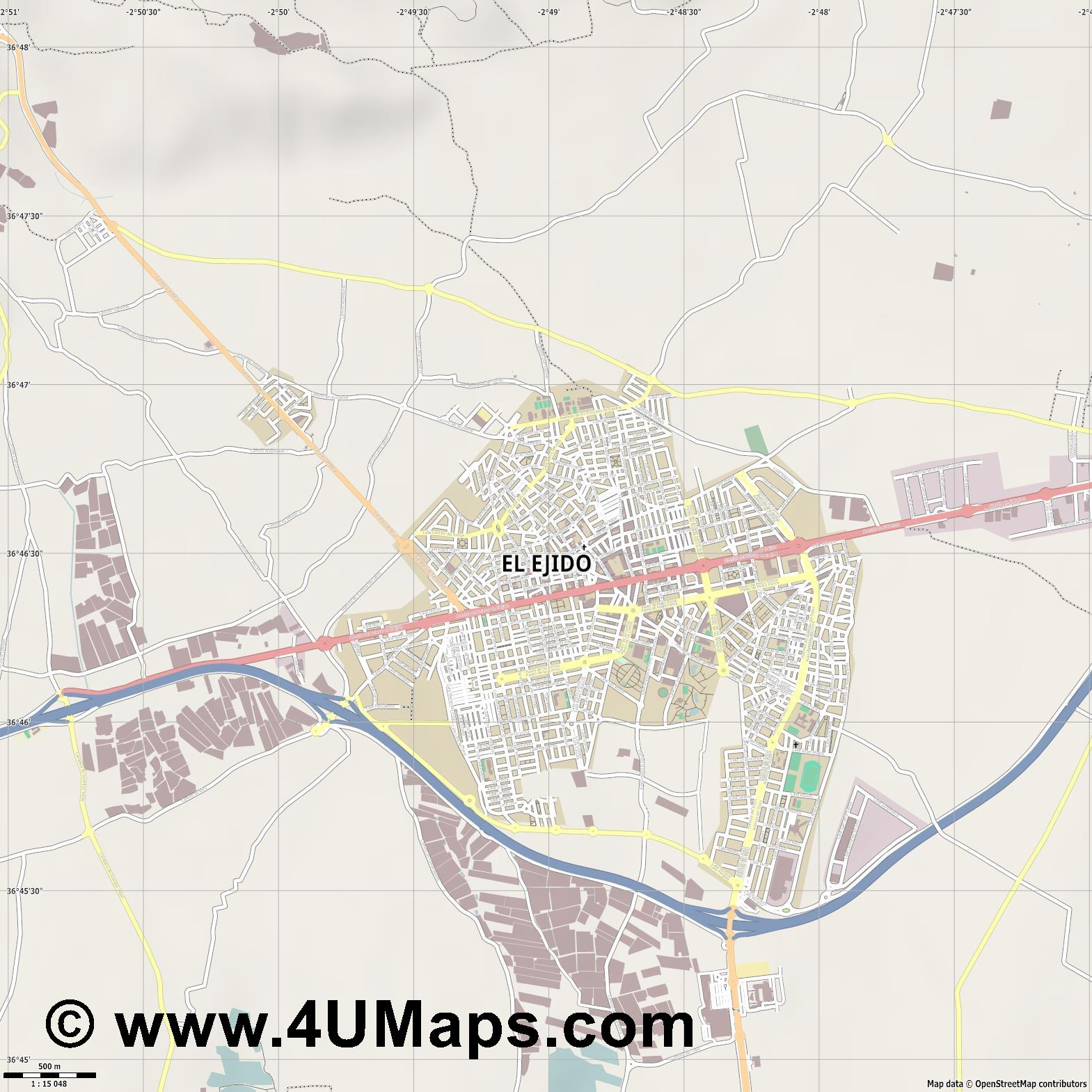 El Ejido  jpg ultra high detail preview vector city map