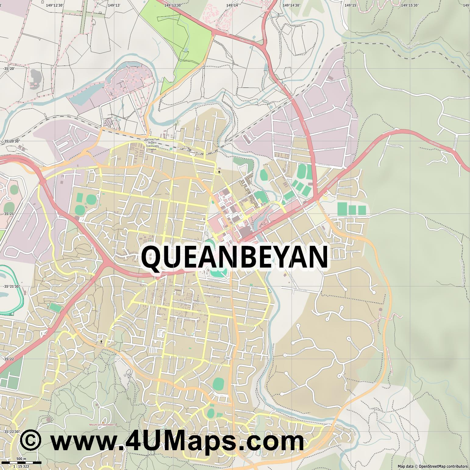 Queanbeyan  jpg ultra high detail preview vector city map