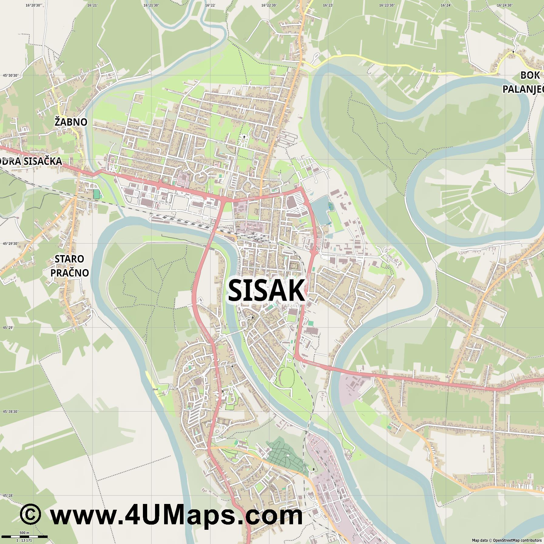 Sisak  jpg ultra high detail preview vector city map