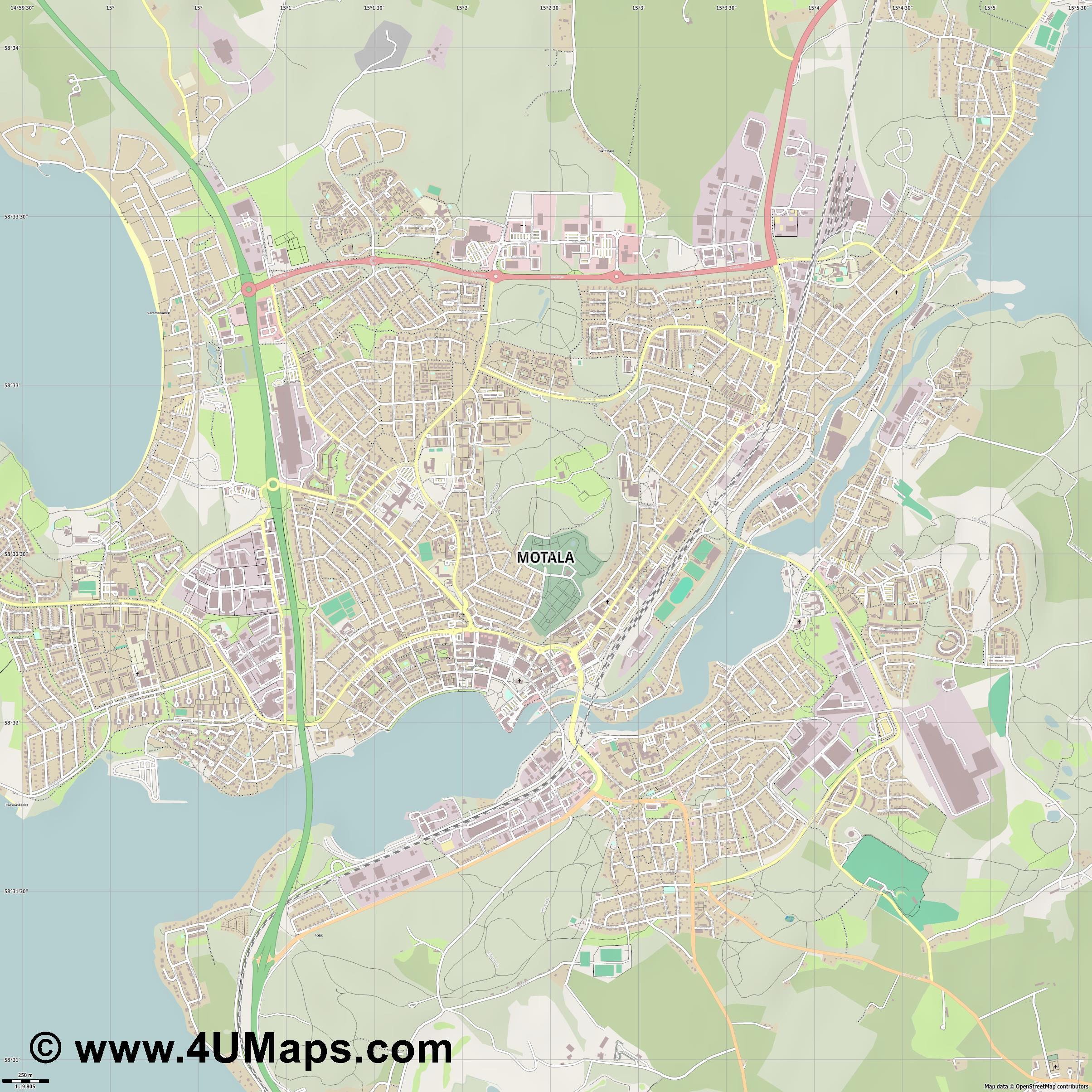 Motala  jpg ultra high detail preview vector city map