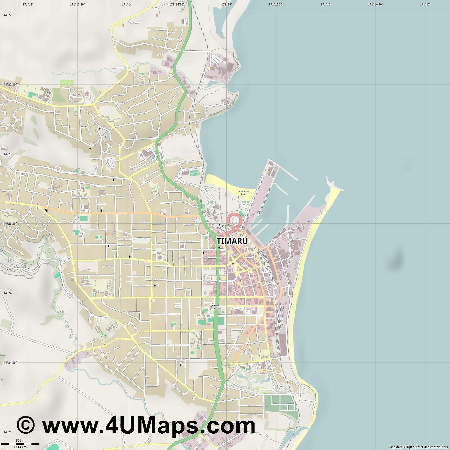 Timaru  jpg ultra high detail preview vector city map
