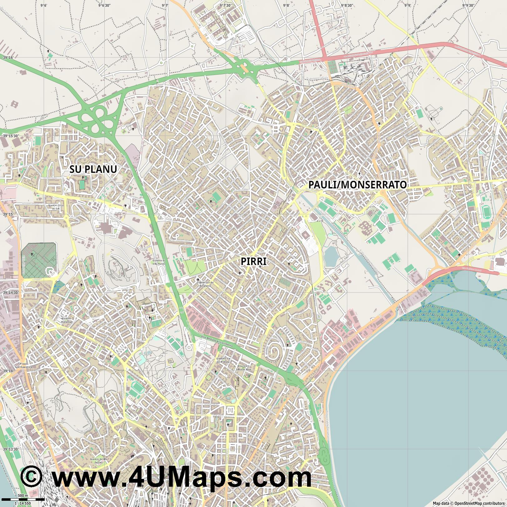 Pirri  jpg ultra high detail preview vector city map