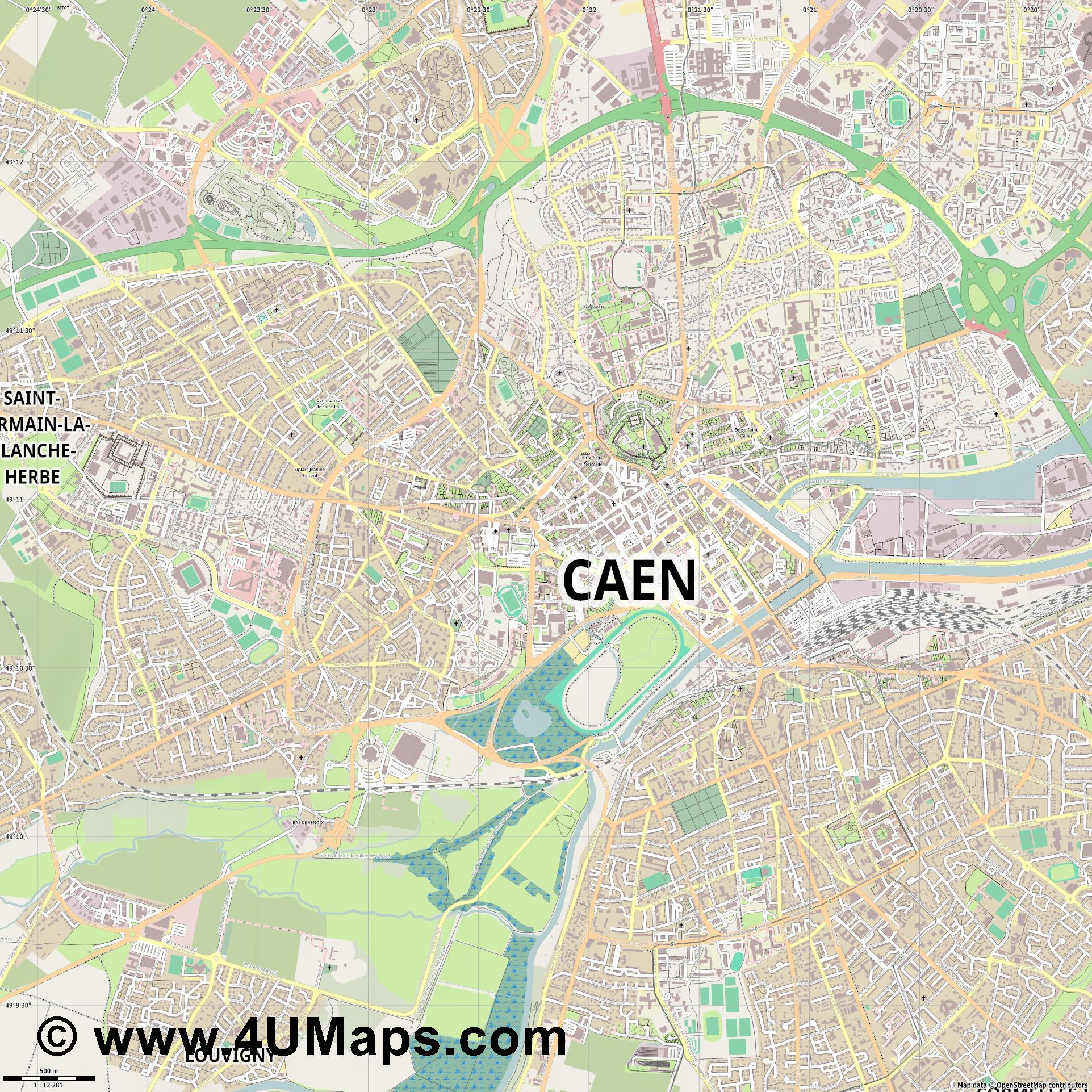 Caen  jpg ultra high detail preview vector city map