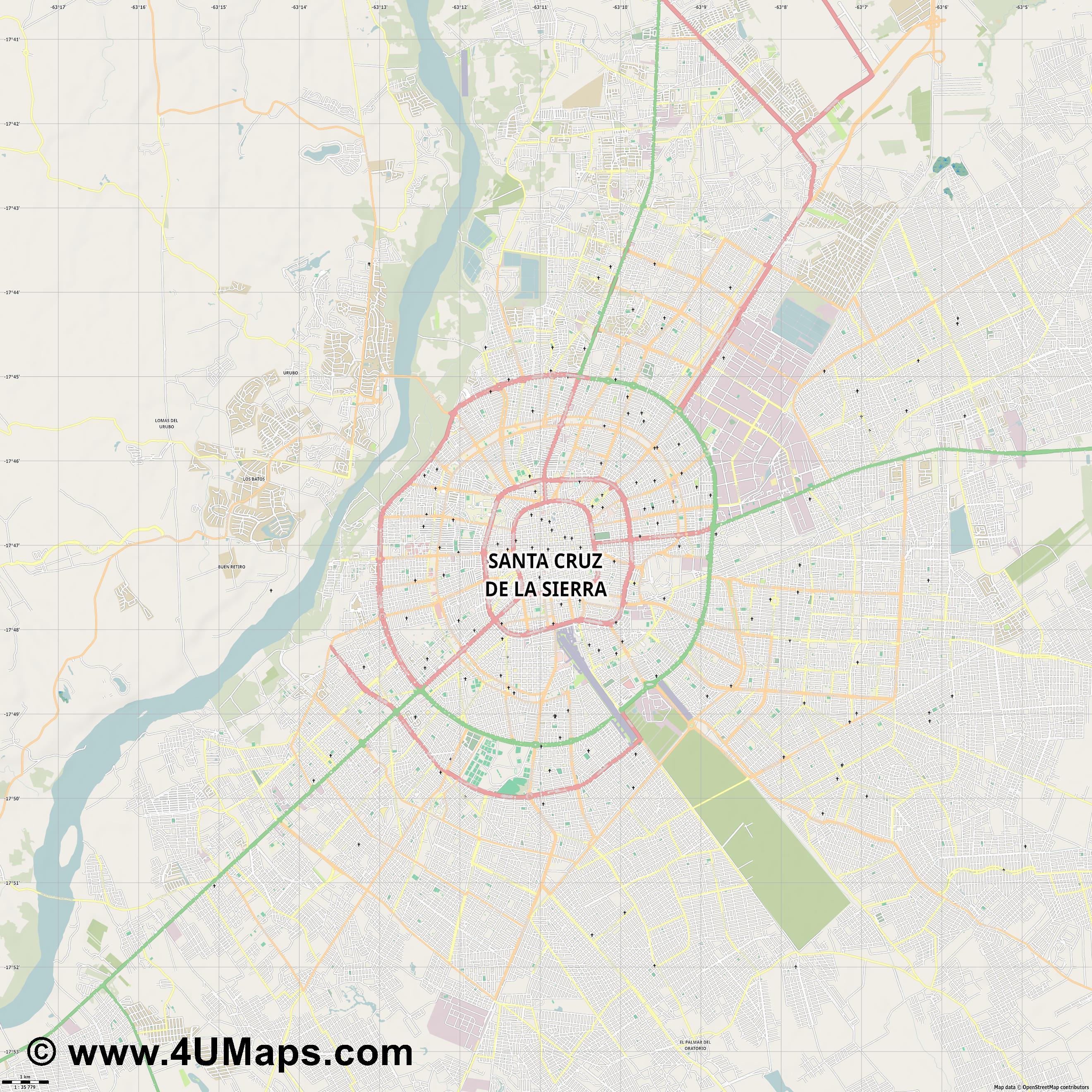 PDF, Svg Scalable Vector City Map Santa Cruz de la Sierra