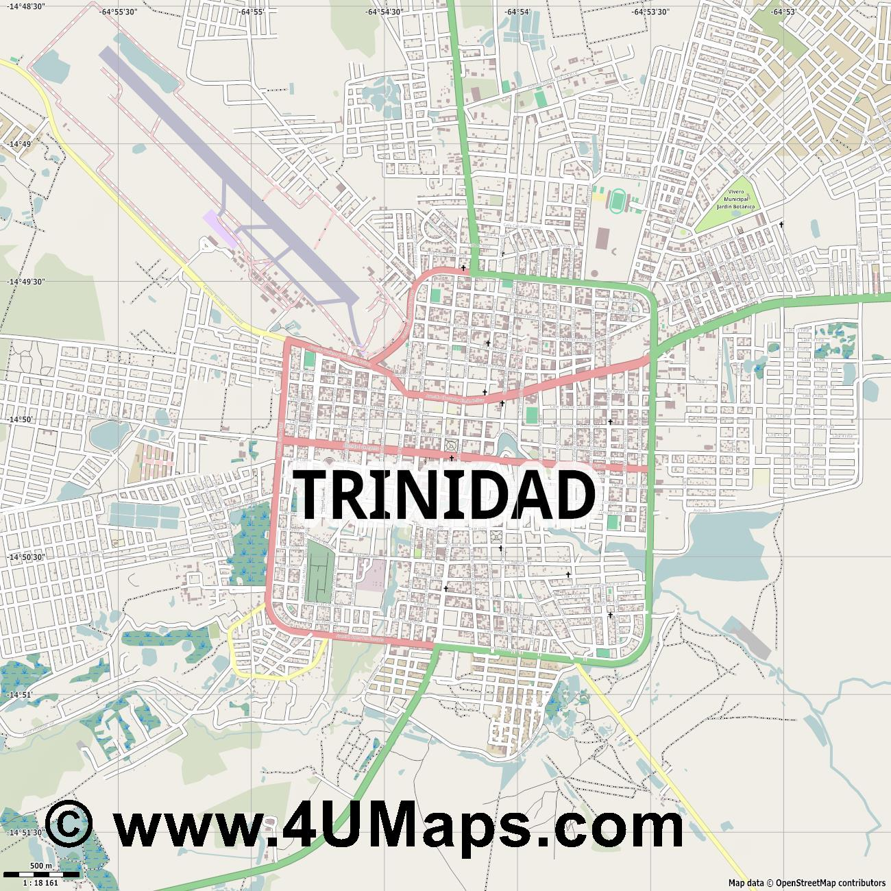 Trinidad  jpg ultra high detail preview vector city map