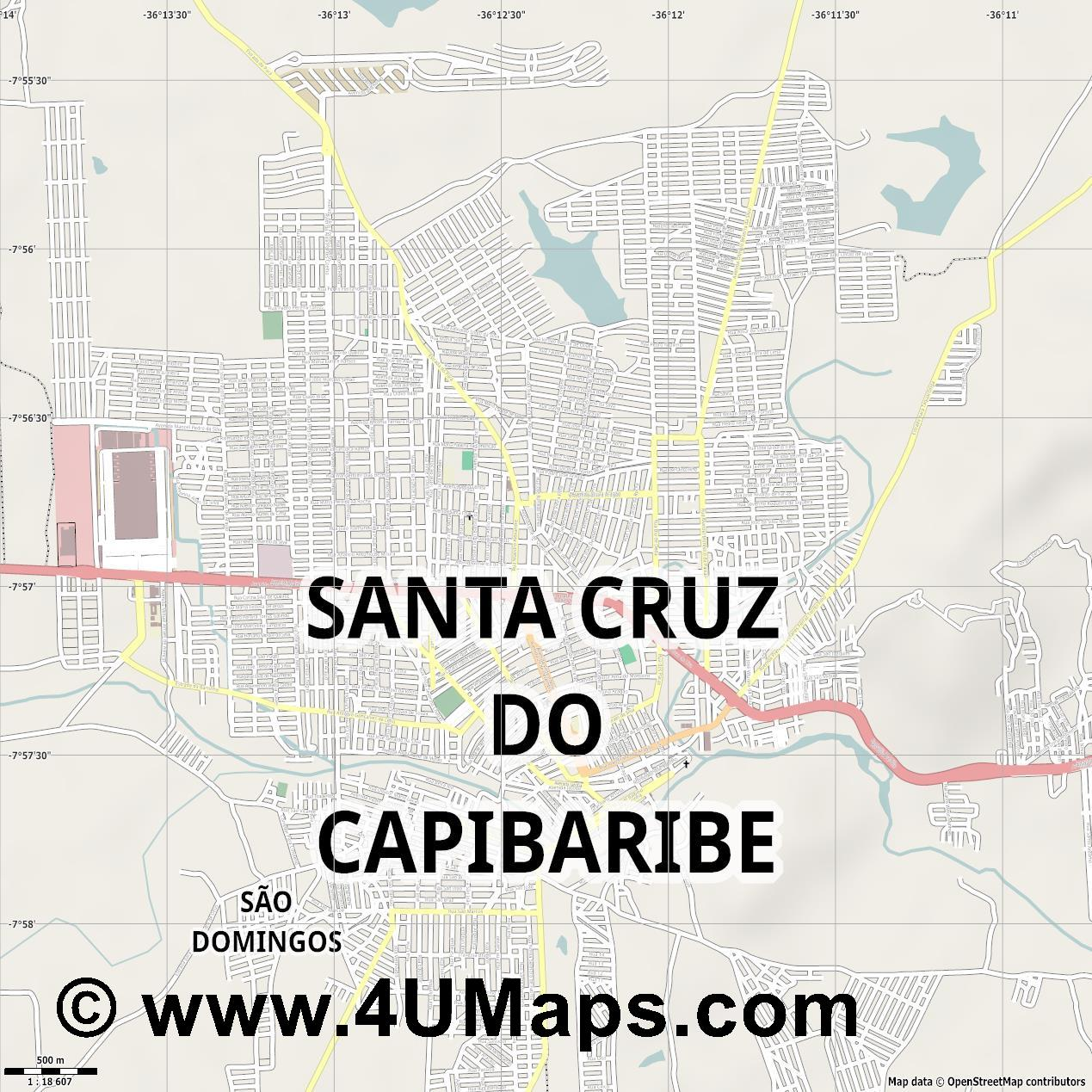 Santa Cruz do Capibaribe  jpg ultra high detail preview vector city map