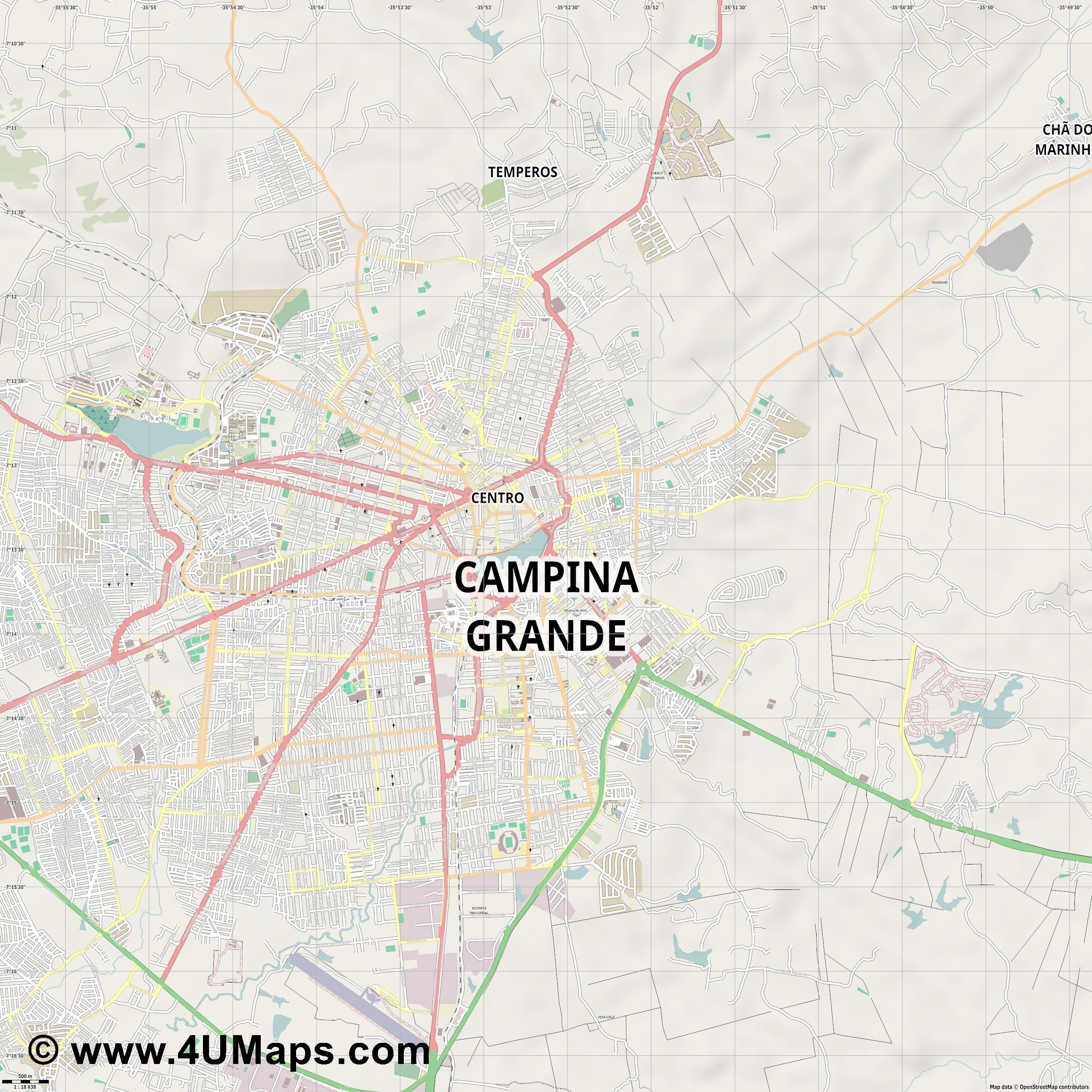Campina Grande  jpg ultra high detail preview vector city map
