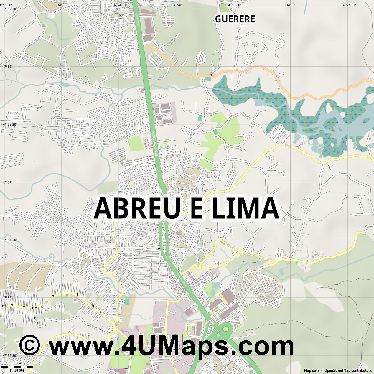 Abreu e Lima  jpg ultra high detail preview vector city map