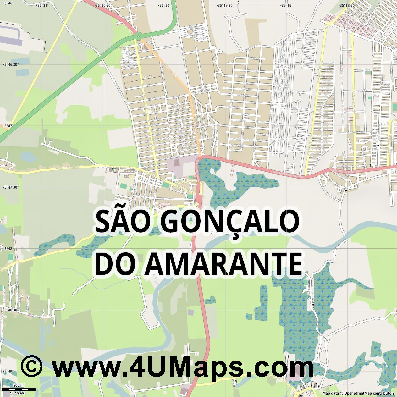 São Gonçalo do Amarante  jpg ultra high detail preview vector city map