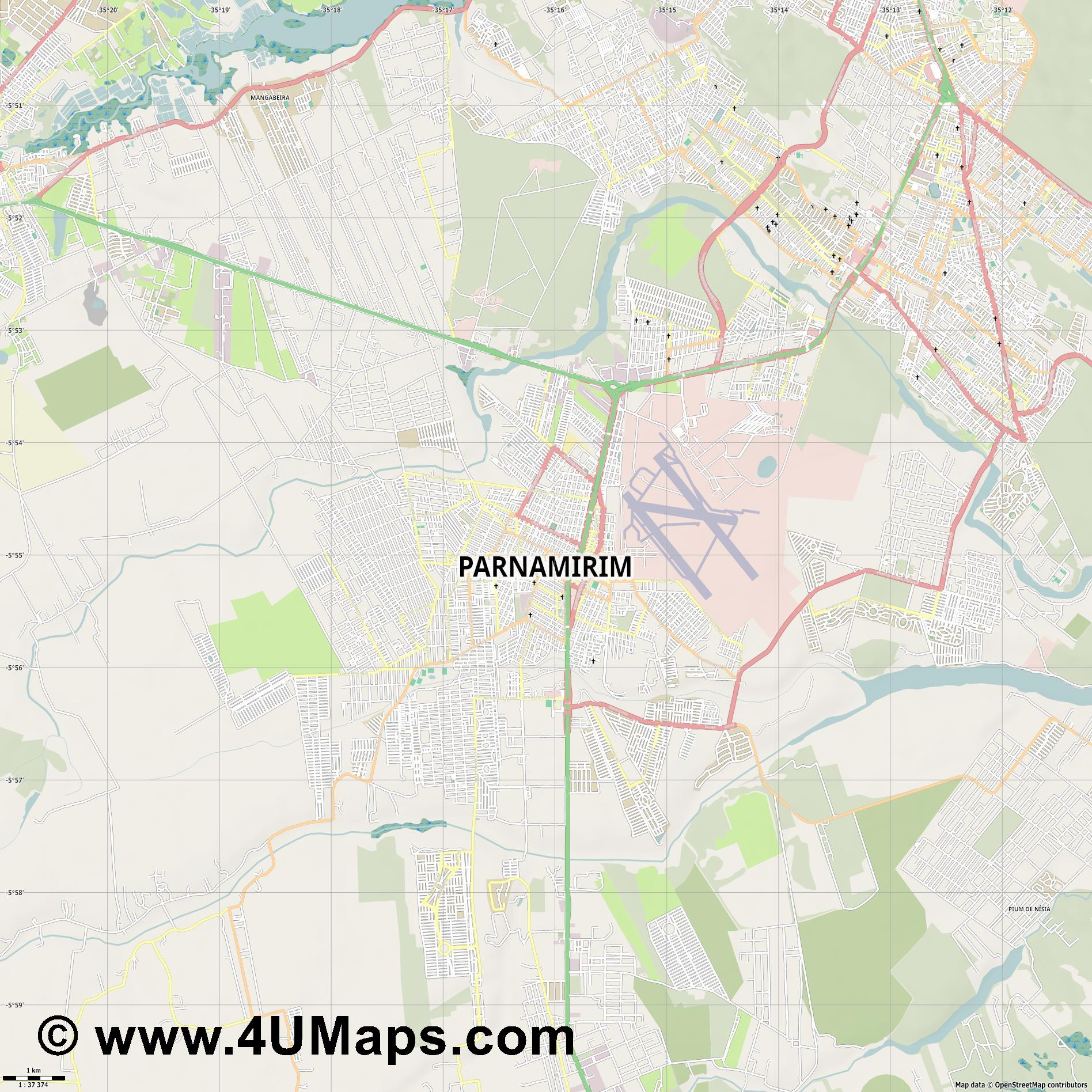 Parnamirim  jpg high detail, large area preview vector city map