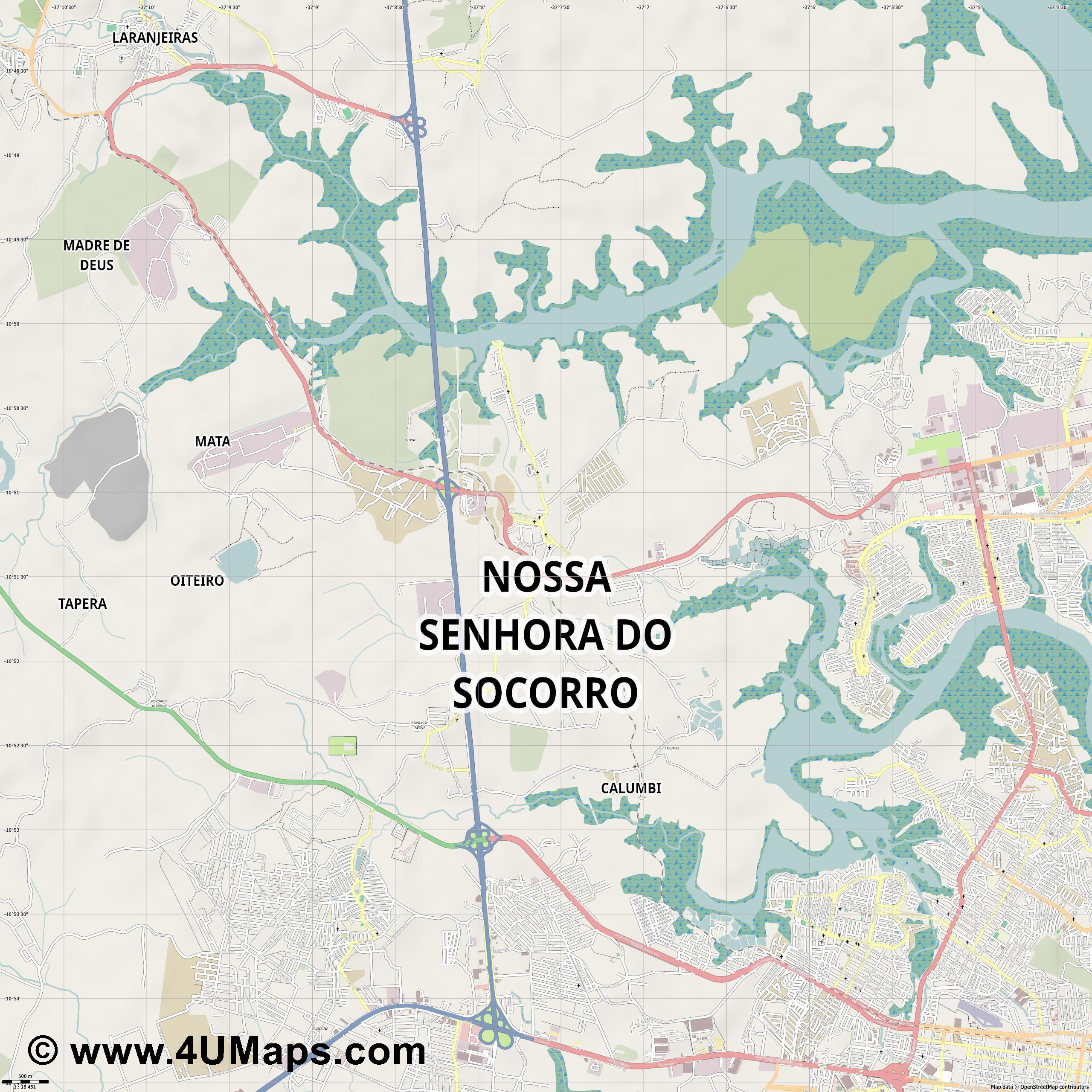 Nossa Senhora do Socorro  jpg ultra high detail preview vector city map