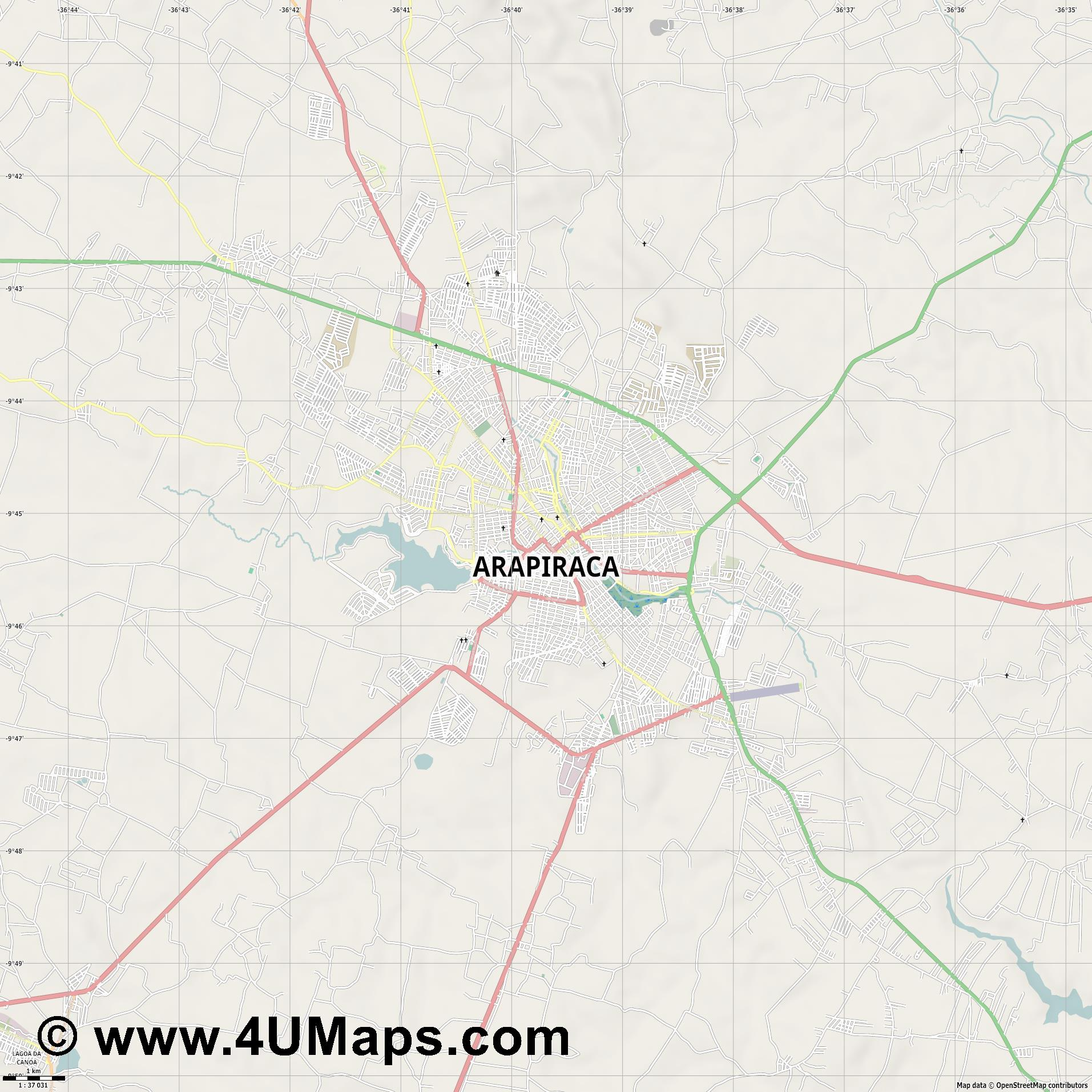 Arapiraca  jpg high detail, large area preview vector city map