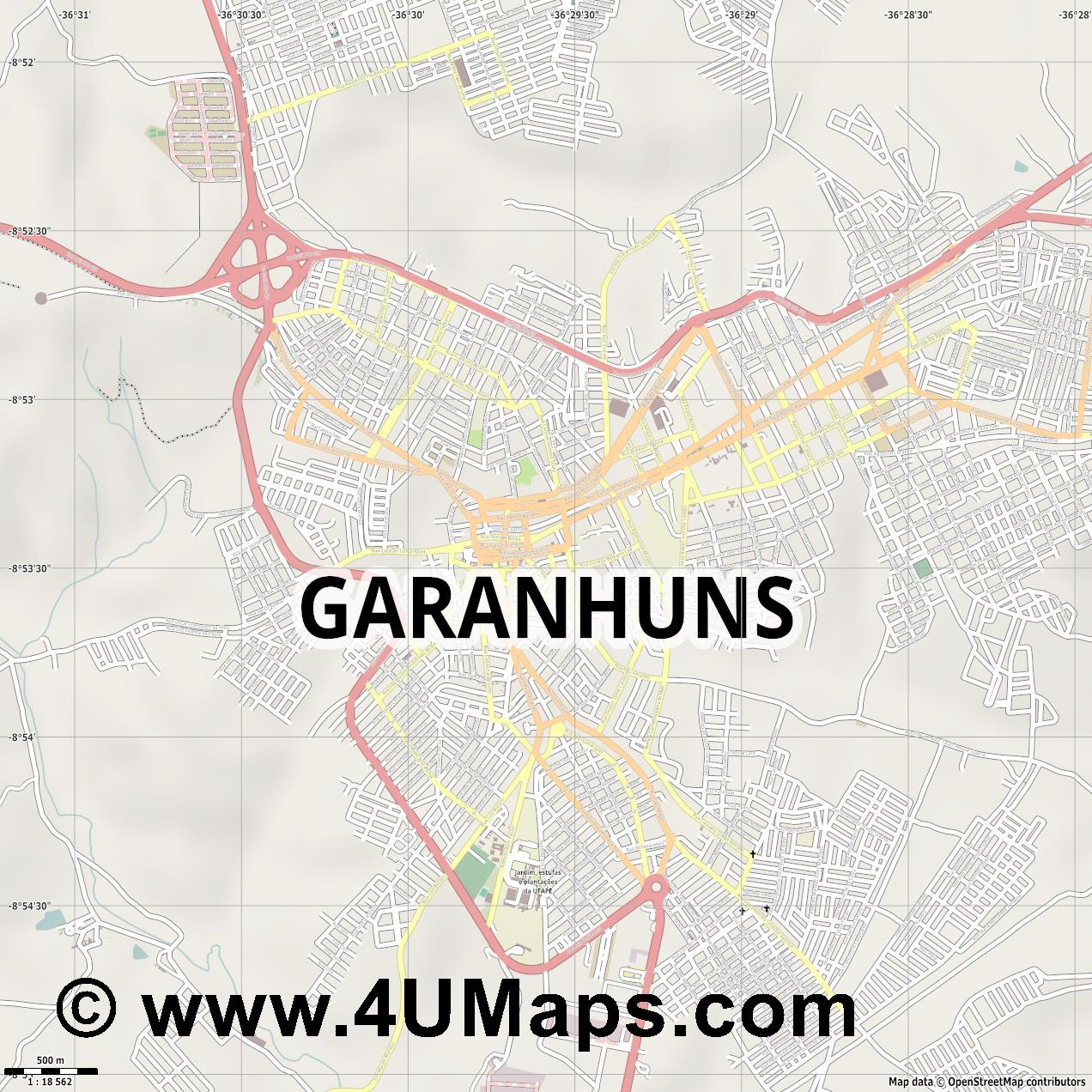 Garanhuns  jpg ultra high detail preview vector city map