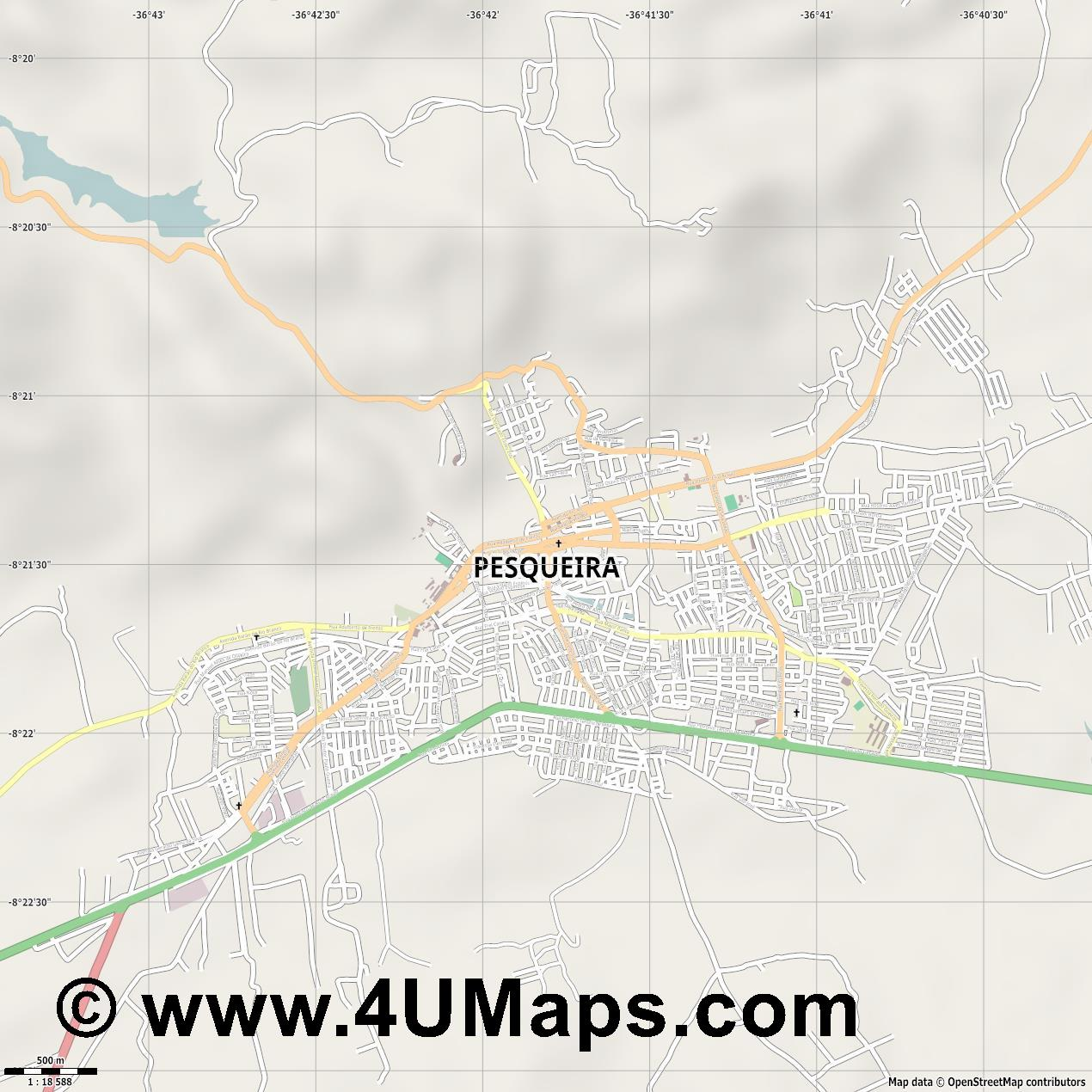 Pesqueira  jpg ultra high detail preview vector city map