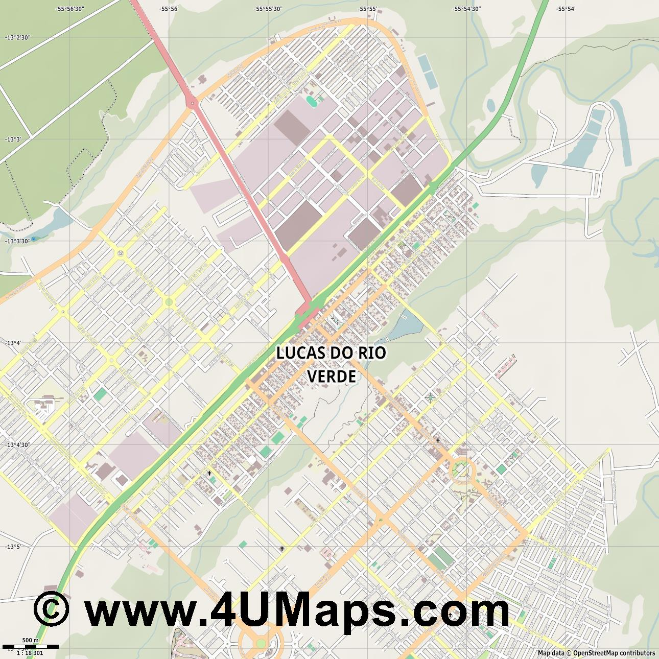 Lucas do Rio Verde  jpg ultra high detail preview vector city map