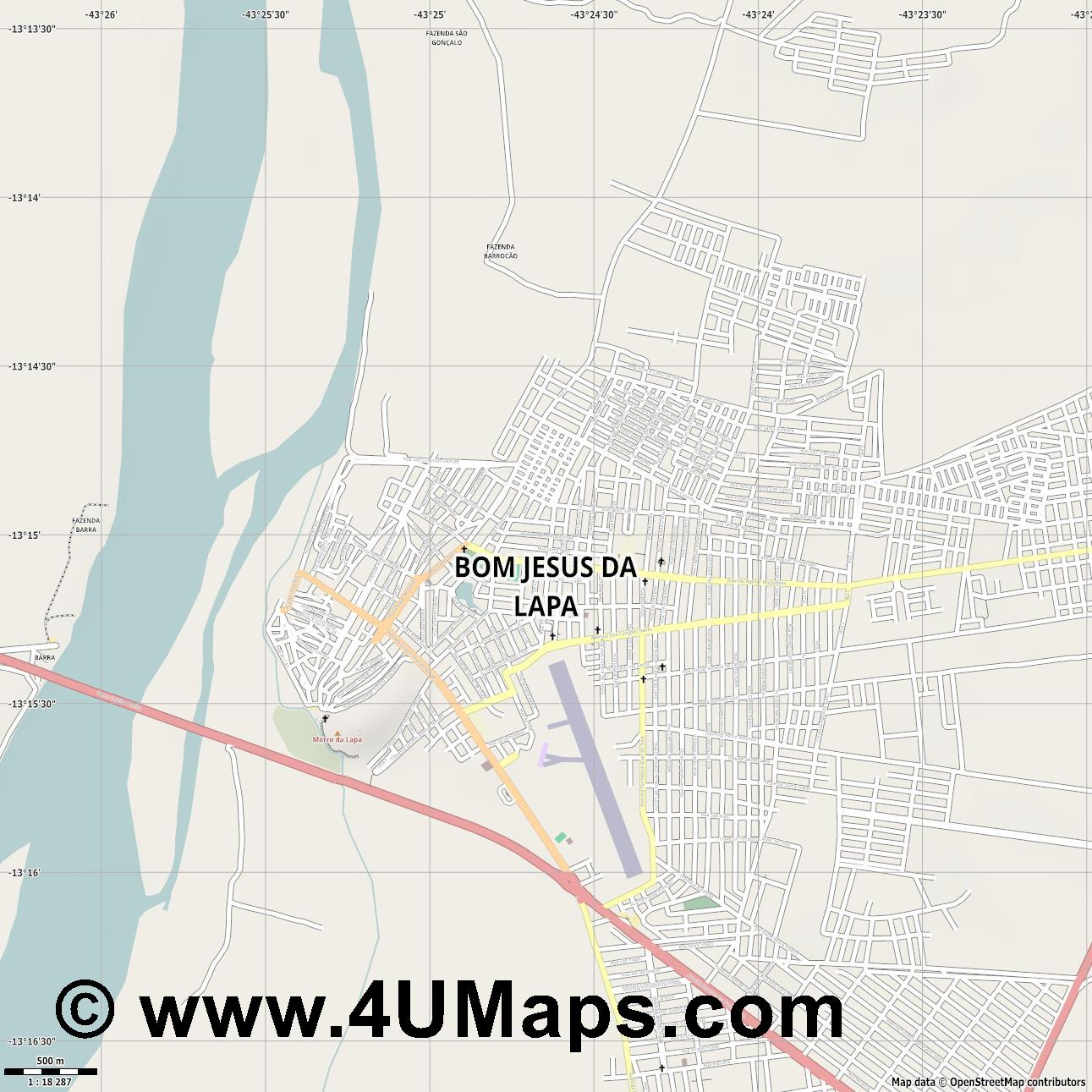 Bom Jesus da Lapa  jpg ultra high detail preview vector city map