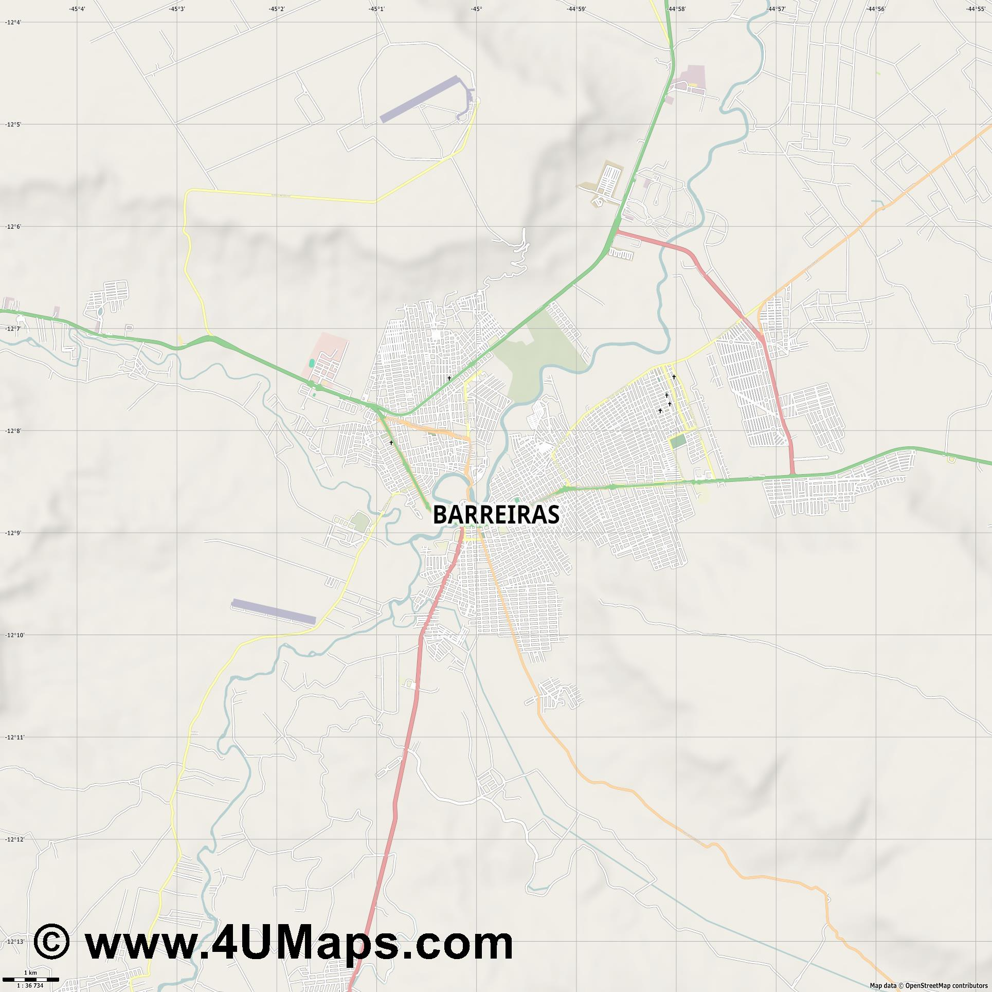 Barreiras  jpg high detail, large area preview vector city map