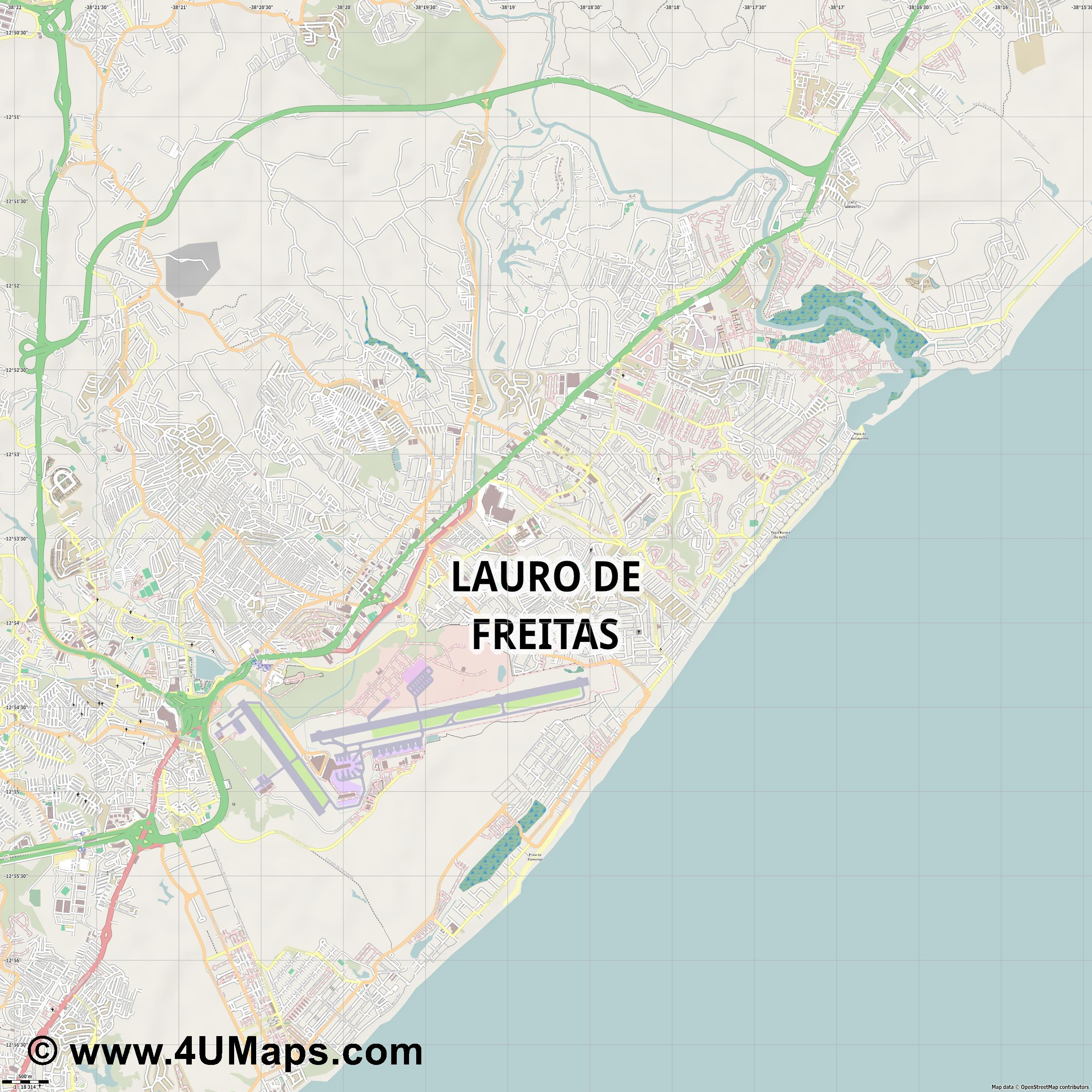 Lauro de Freitas  jpg ultra high detail preview vector city map