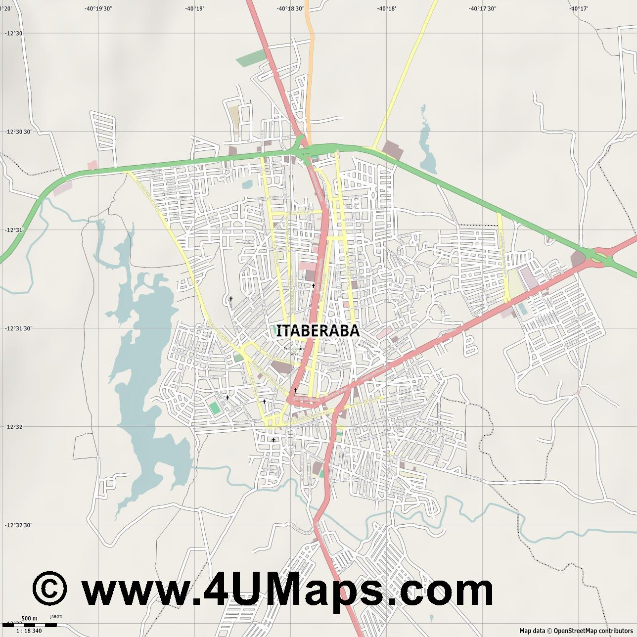 Itaberaba  jpg ultra high detail preview vector city map