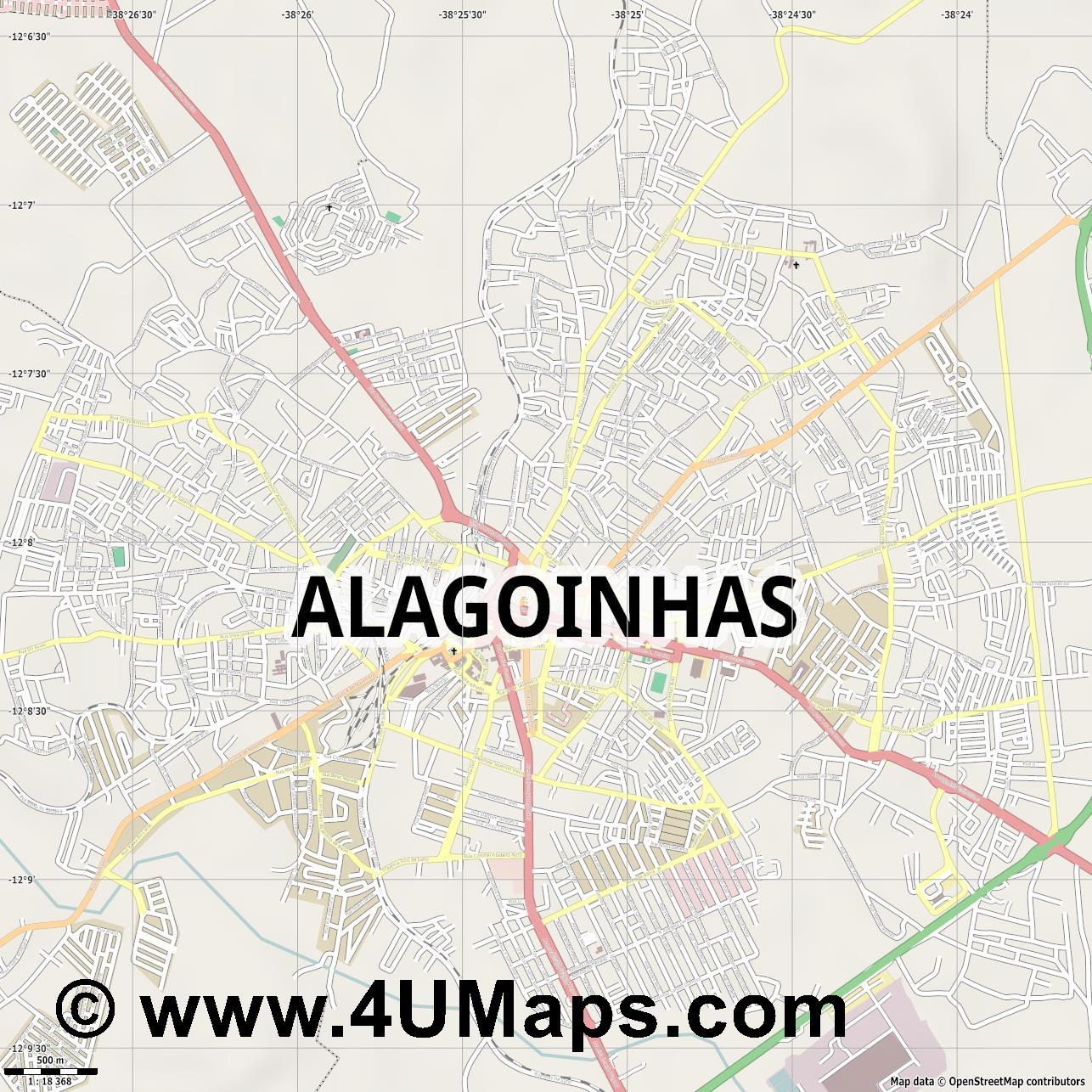 Alagoinhas  jpg ultra high detail preview vector city map