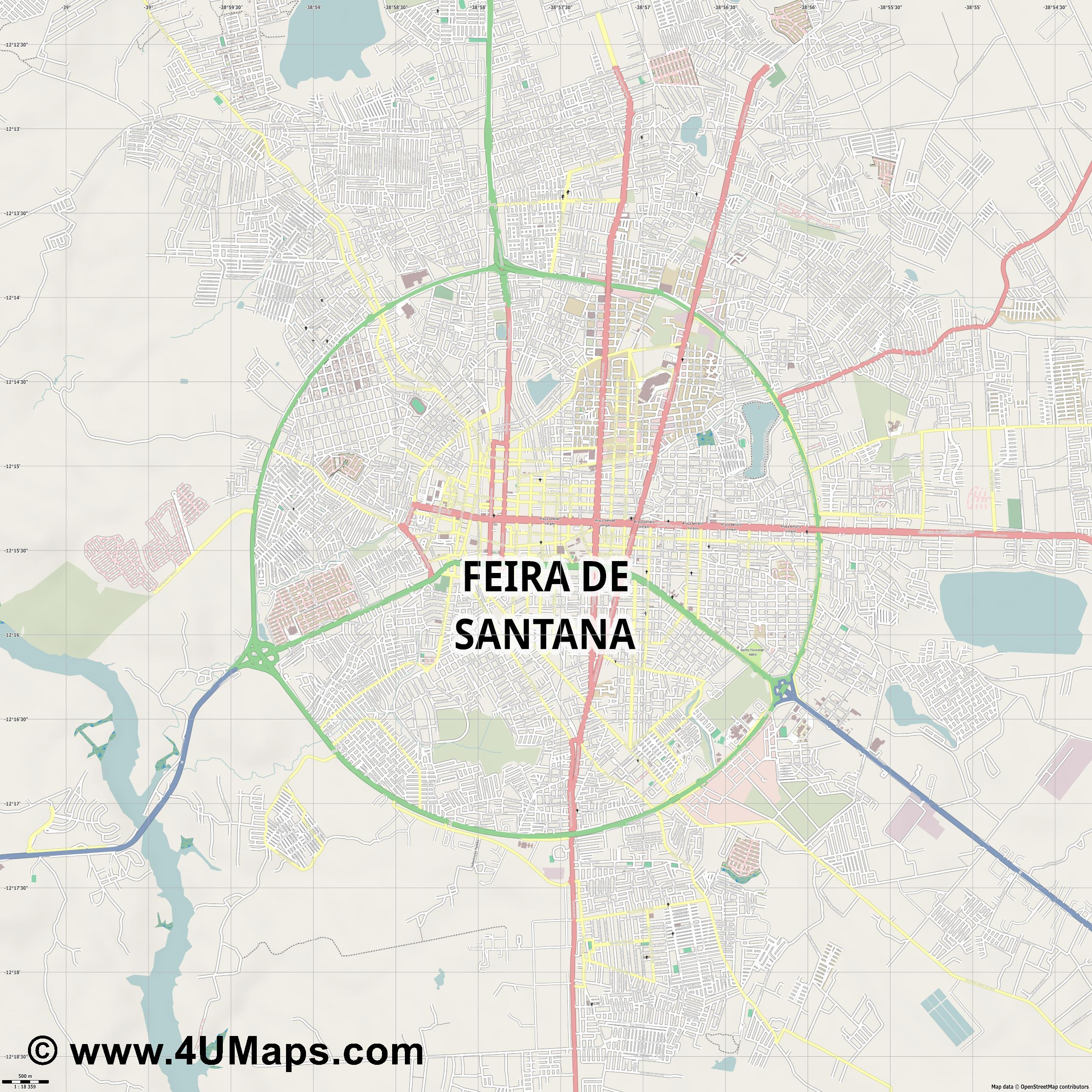 Feira de Santana  jpg ultra high detail preview vector city map