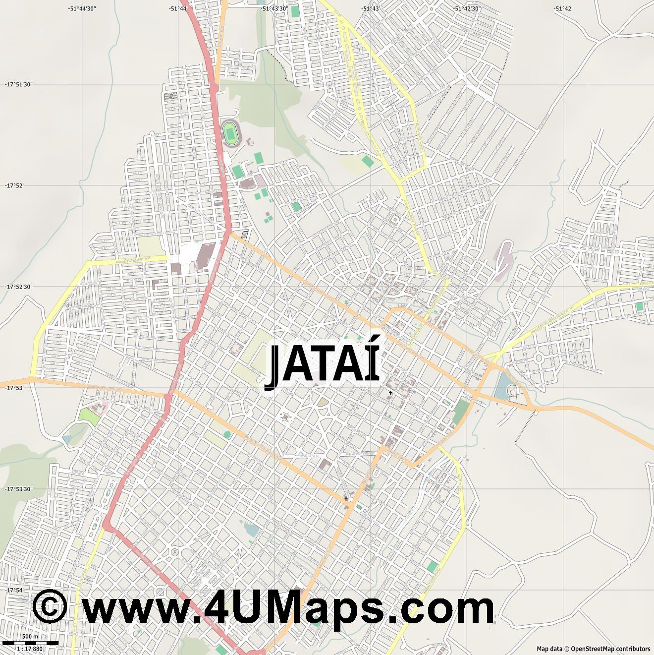 Jataí  jpg ultra high detail preview vector city map