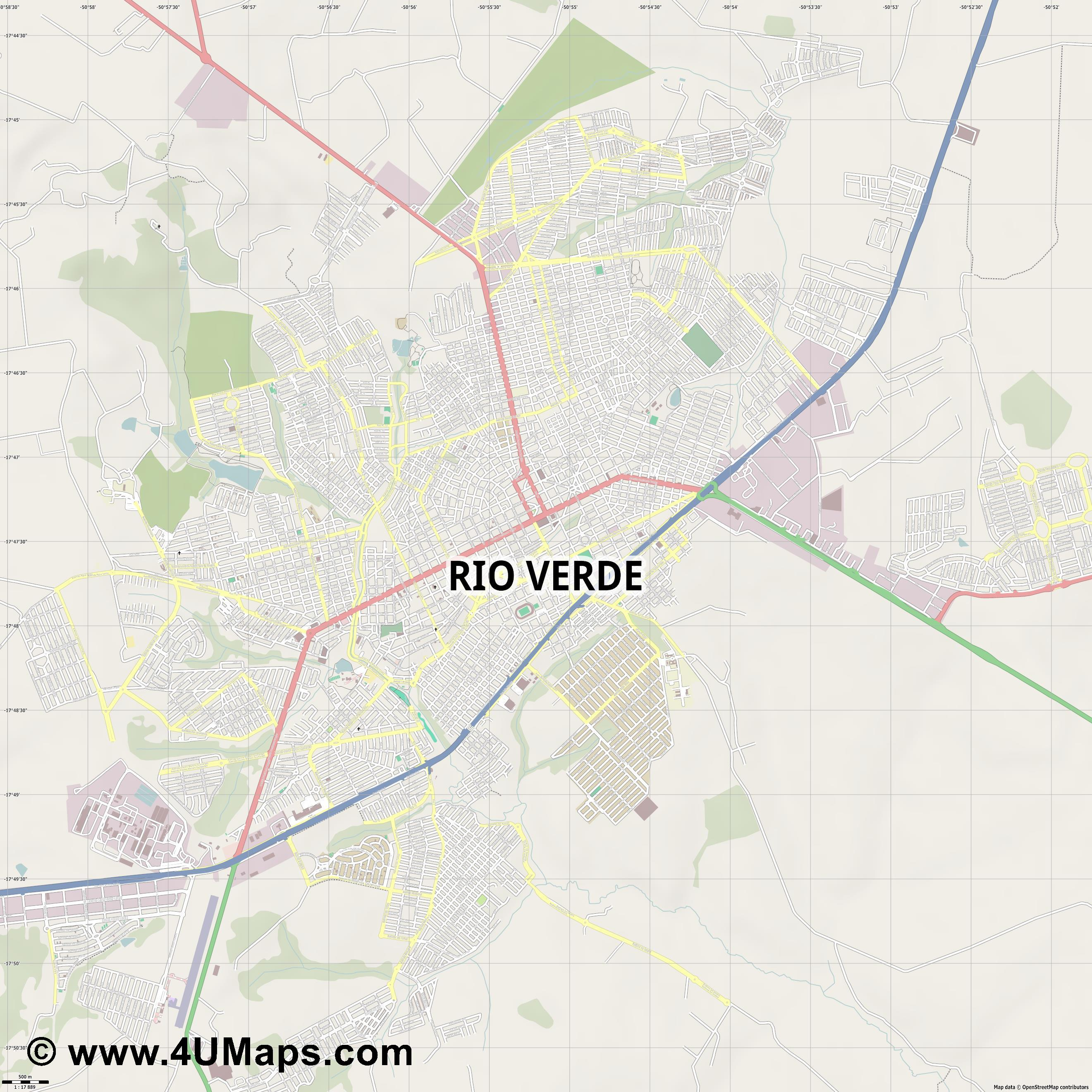Rio Verde  jpg ultra high detail preview vector city map