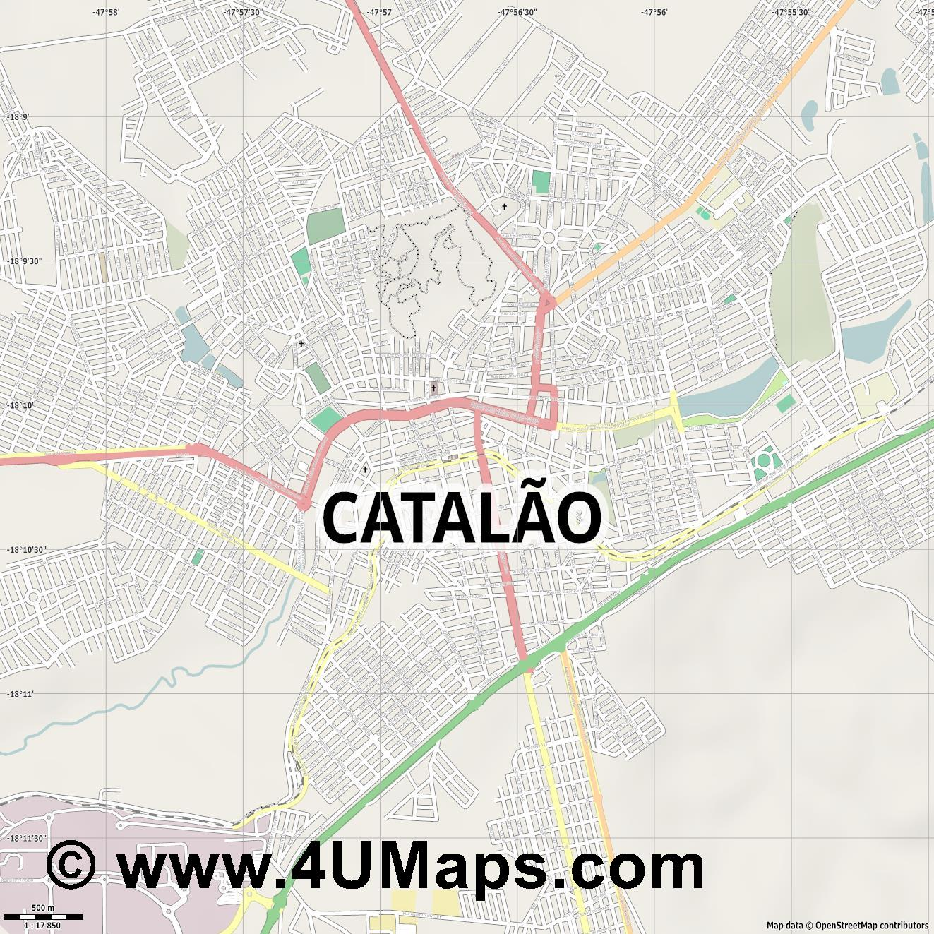 Catalão  jpg ultra high detail preview vector city map
