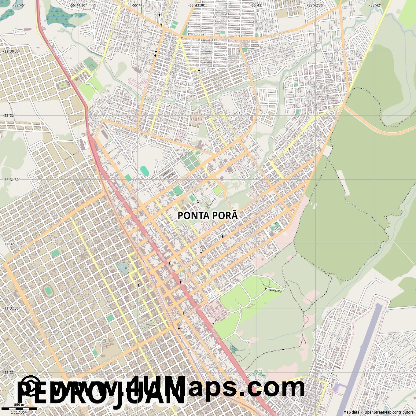 Ponta Porã Punta Porá  jpg ultra high detail preview vector city map