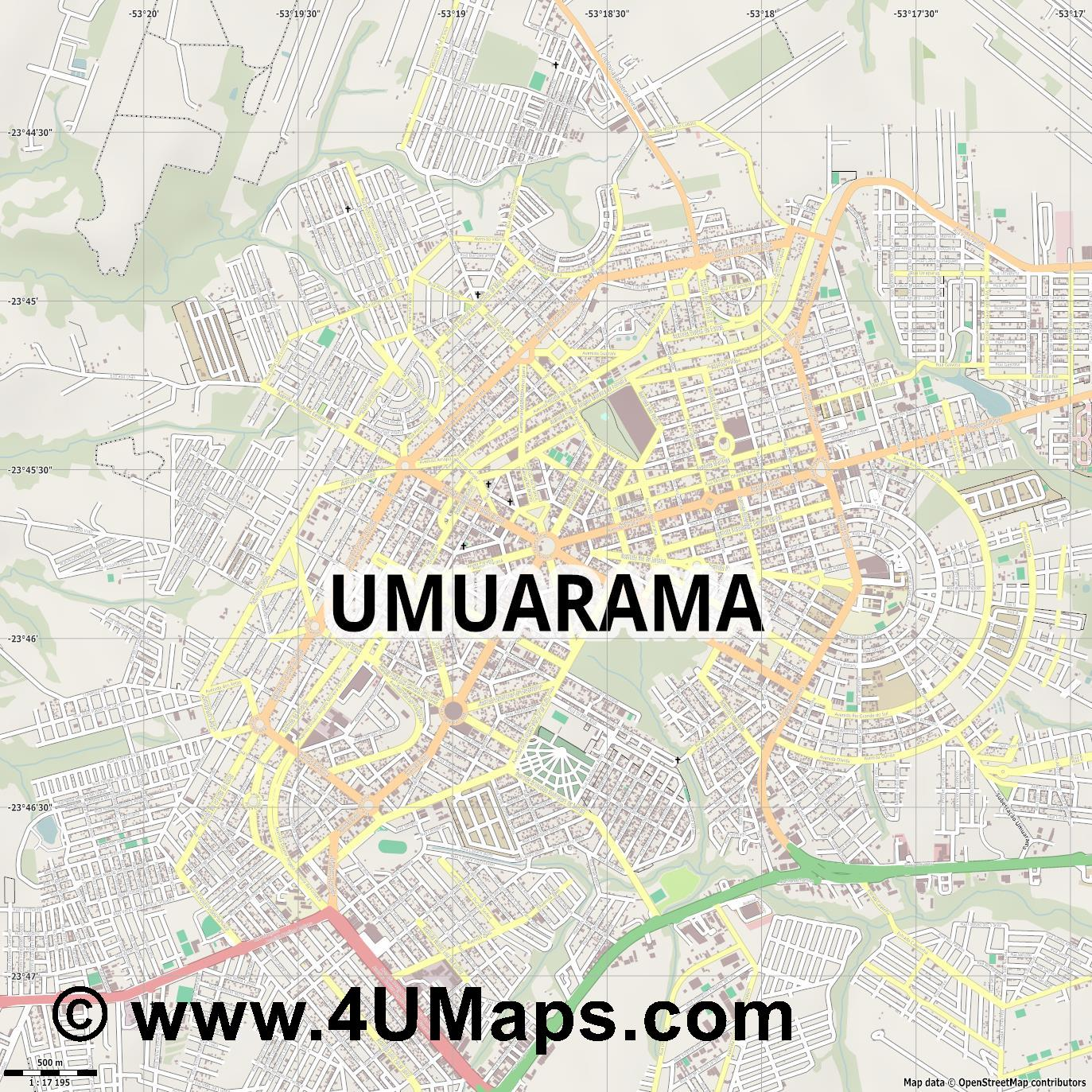 Umuarama  jpg ultra high detail preview vector city map