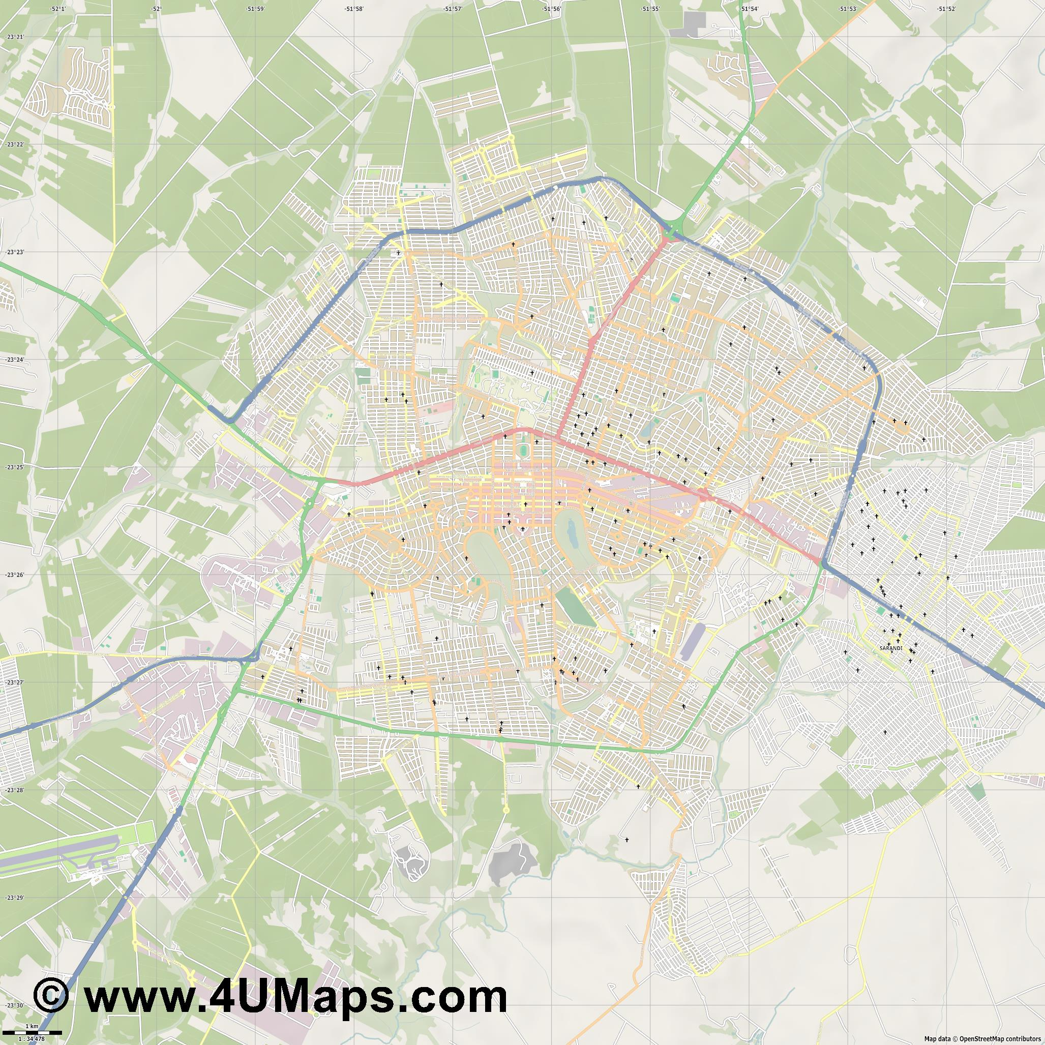 Maringá Maringa  jpg high detail, large area preview vector city map