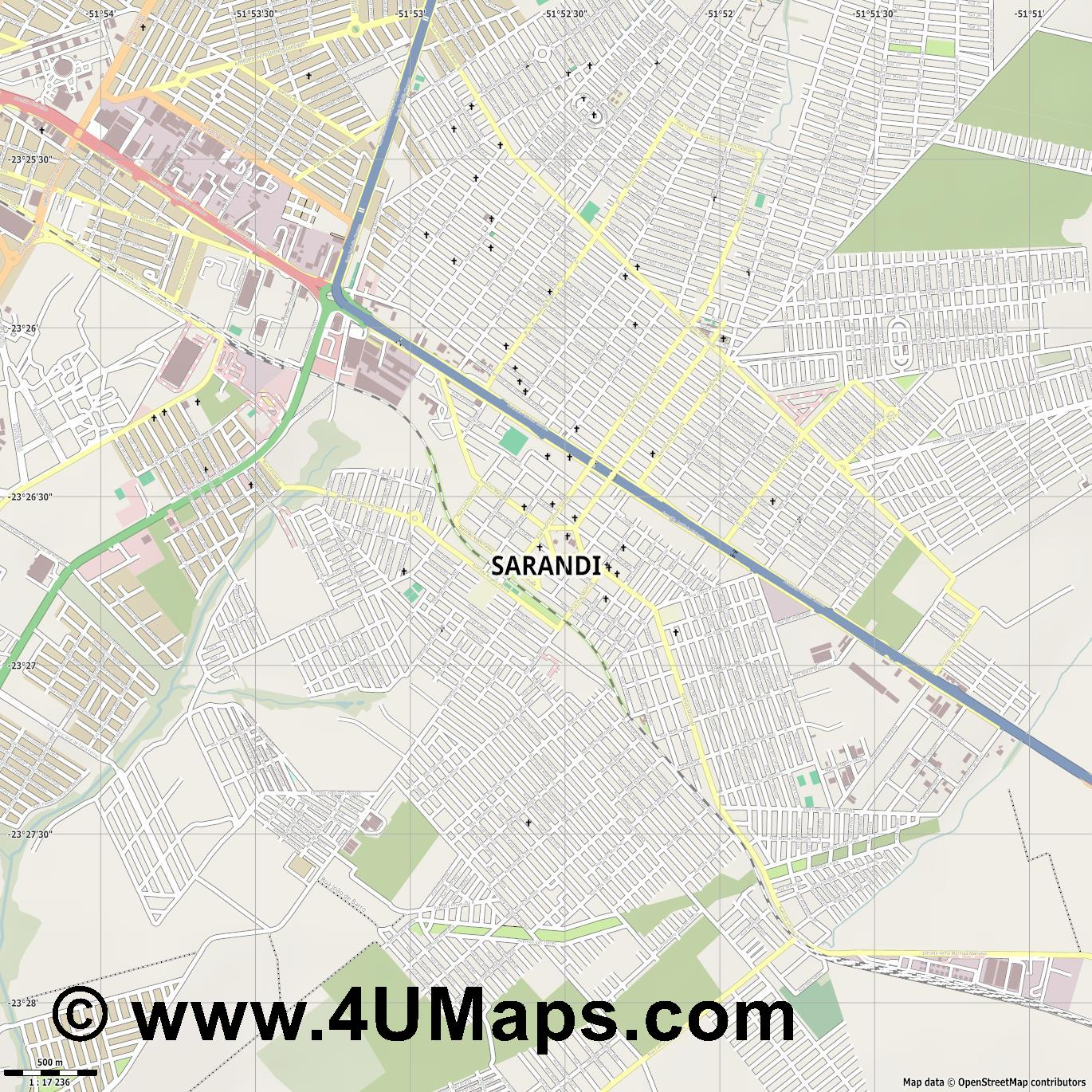 Sarandi  jpg ultra high detail preview vector city map