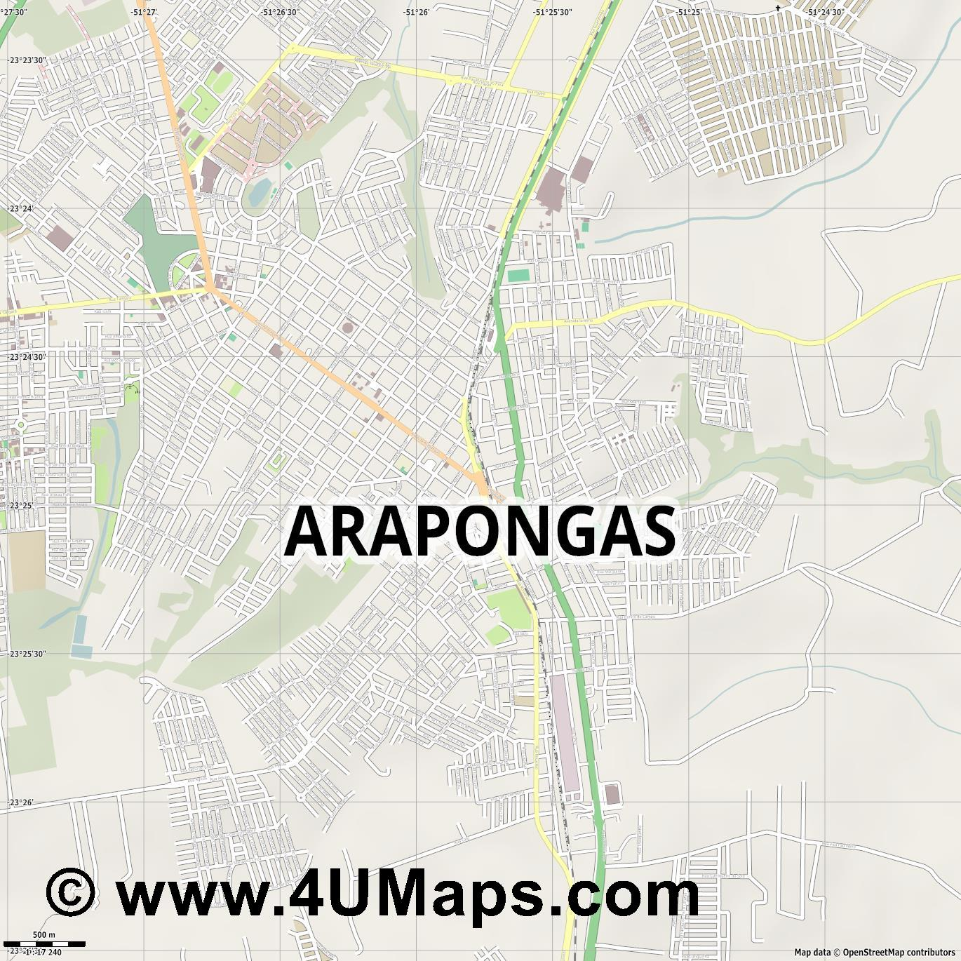 Arapongas  jpg ultra high detail preview vector city map