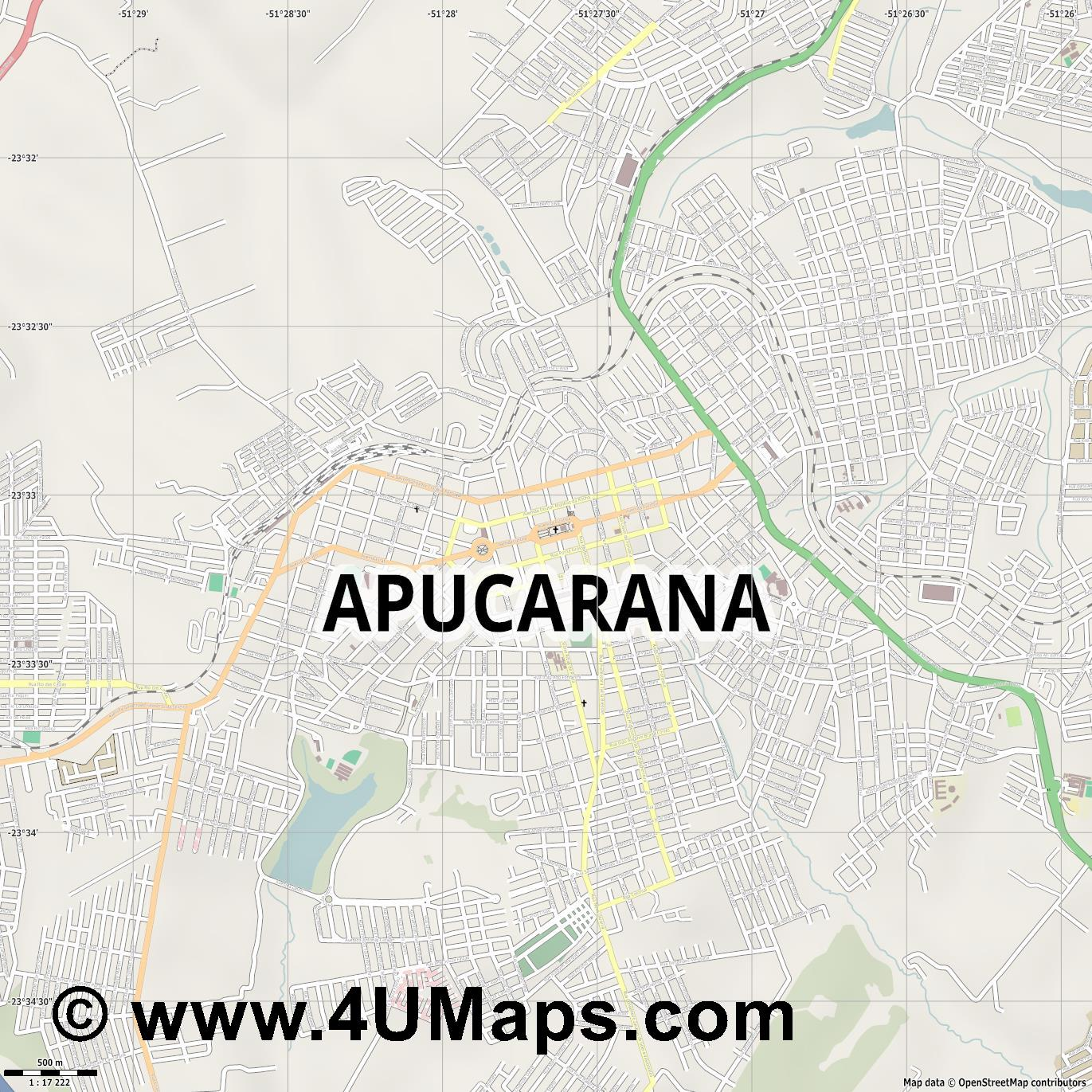 Apucarana  jpg ultra high detail preview vector city map
