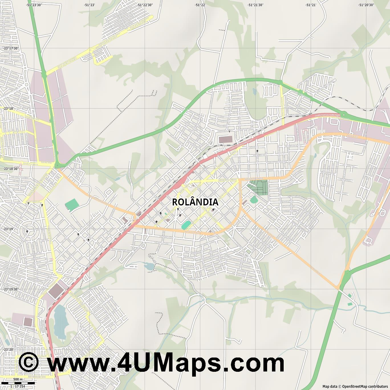 Rolândia  jpg ultra high detail preview vector city map