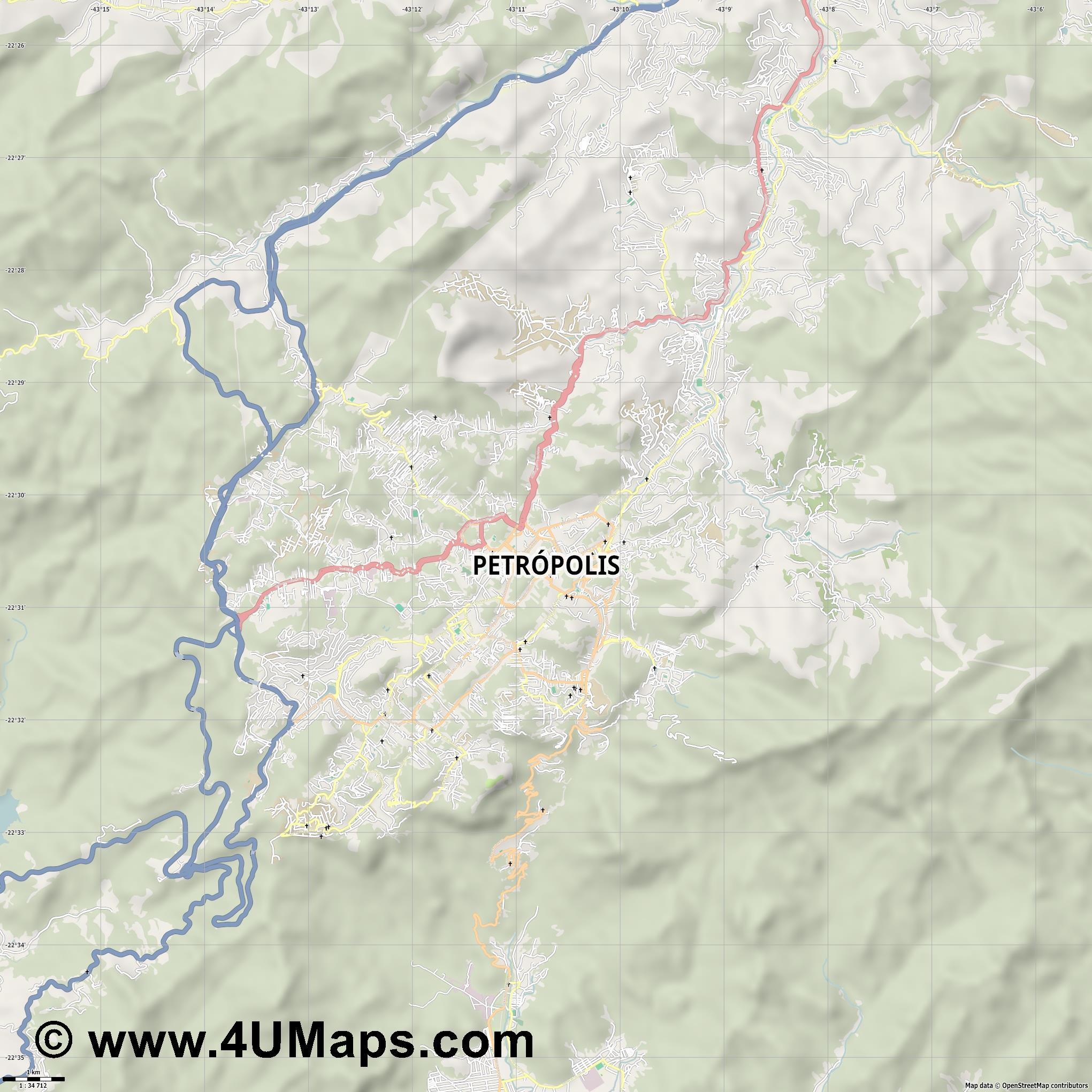 Petrópolis  jpg high detail, large area preview vector city map