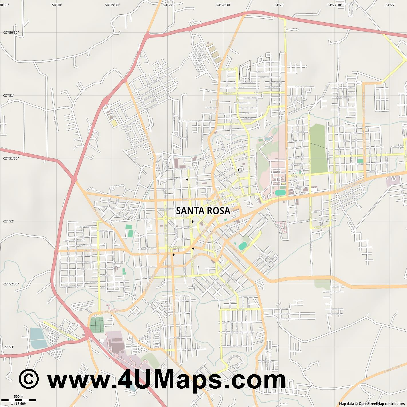 Santa Rosa  jpg ultra high detail preview vector city map