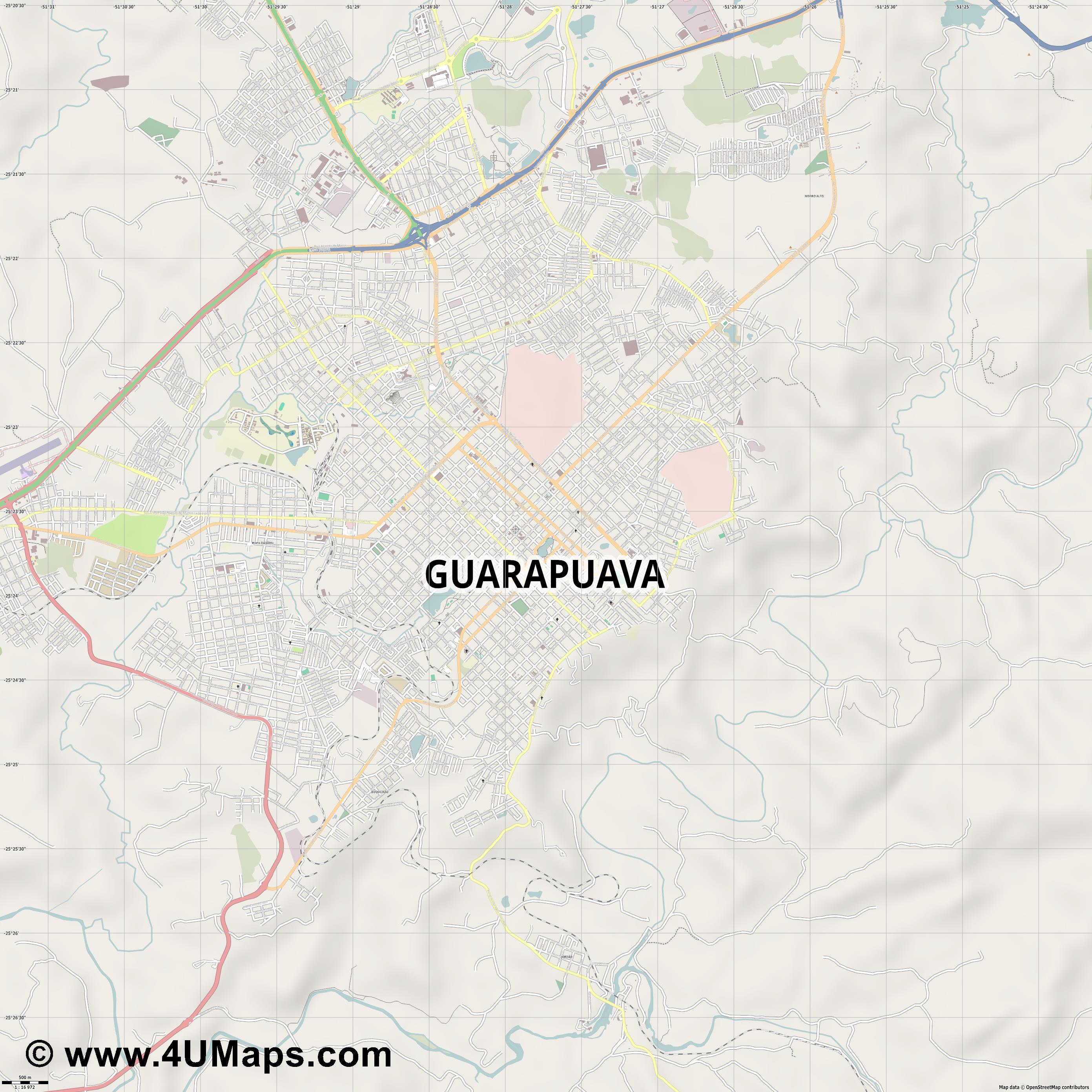 Guarapuava  jpg ultra high detail preview vector city map