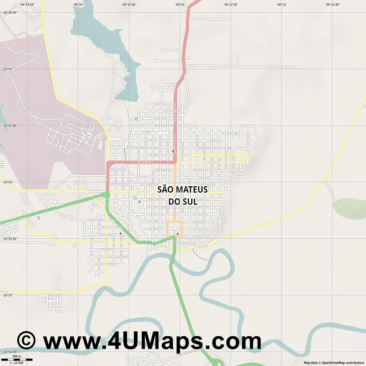 São Mateus do Sul  jpg ultra high detail preview vector city map