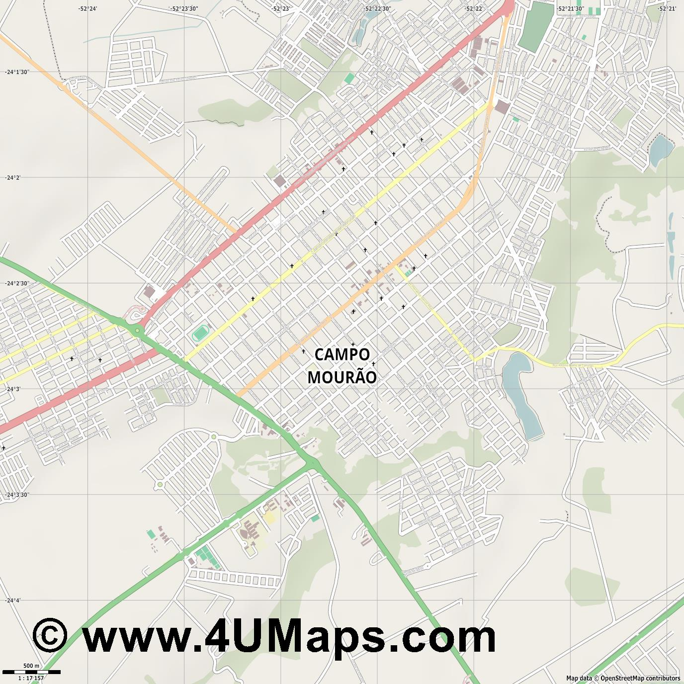 Campo Mourão  jpg ultra high detail preview vector city map