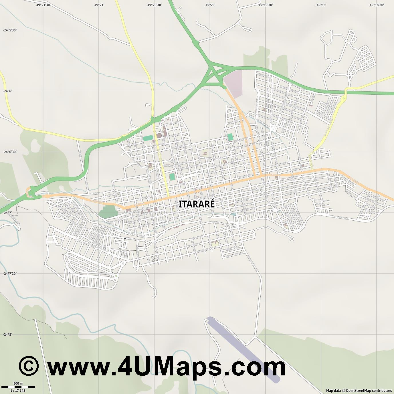 Itararé  jpg ultra high detail preview vector city map