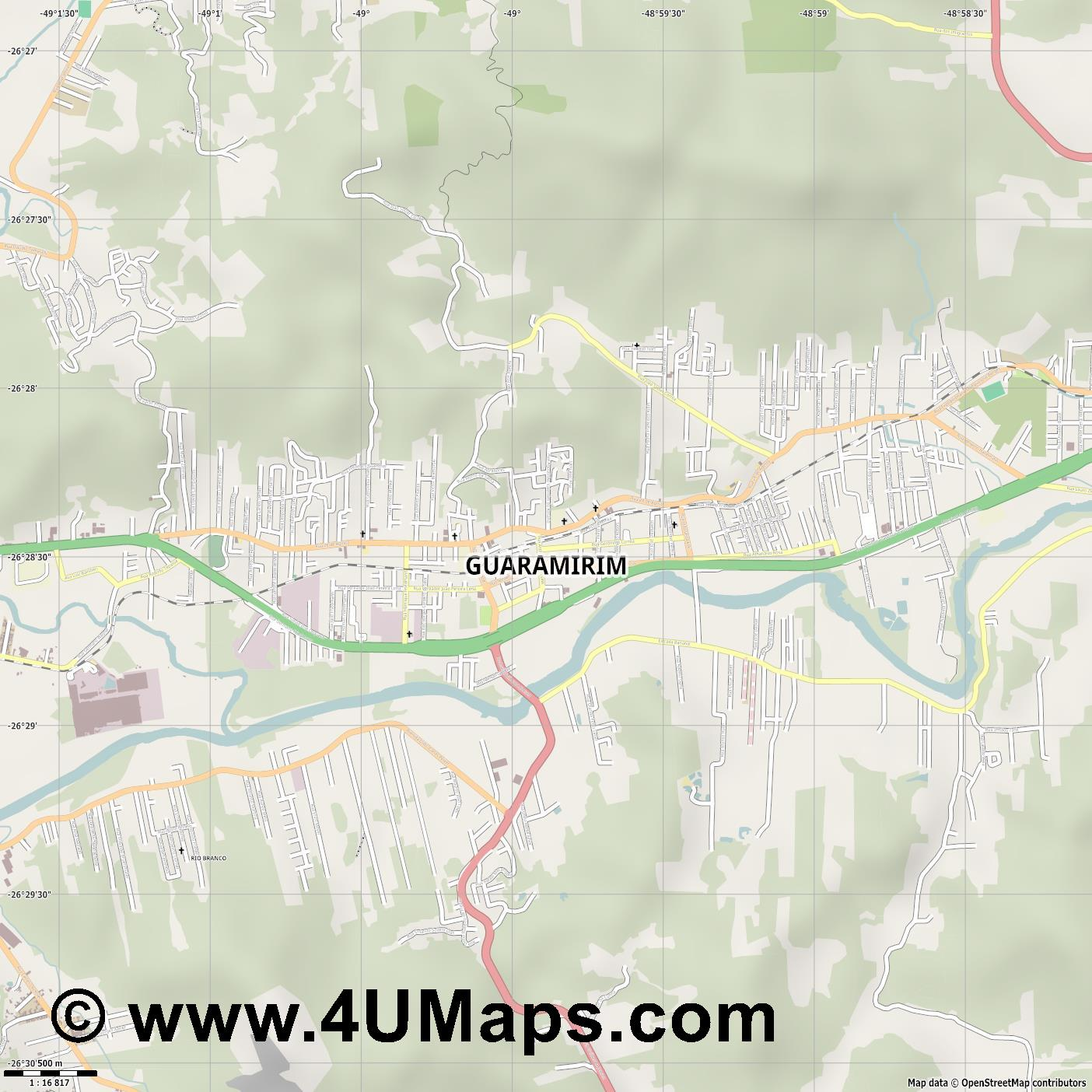 Guaramirim  jpg ultra high detail preview vector city map