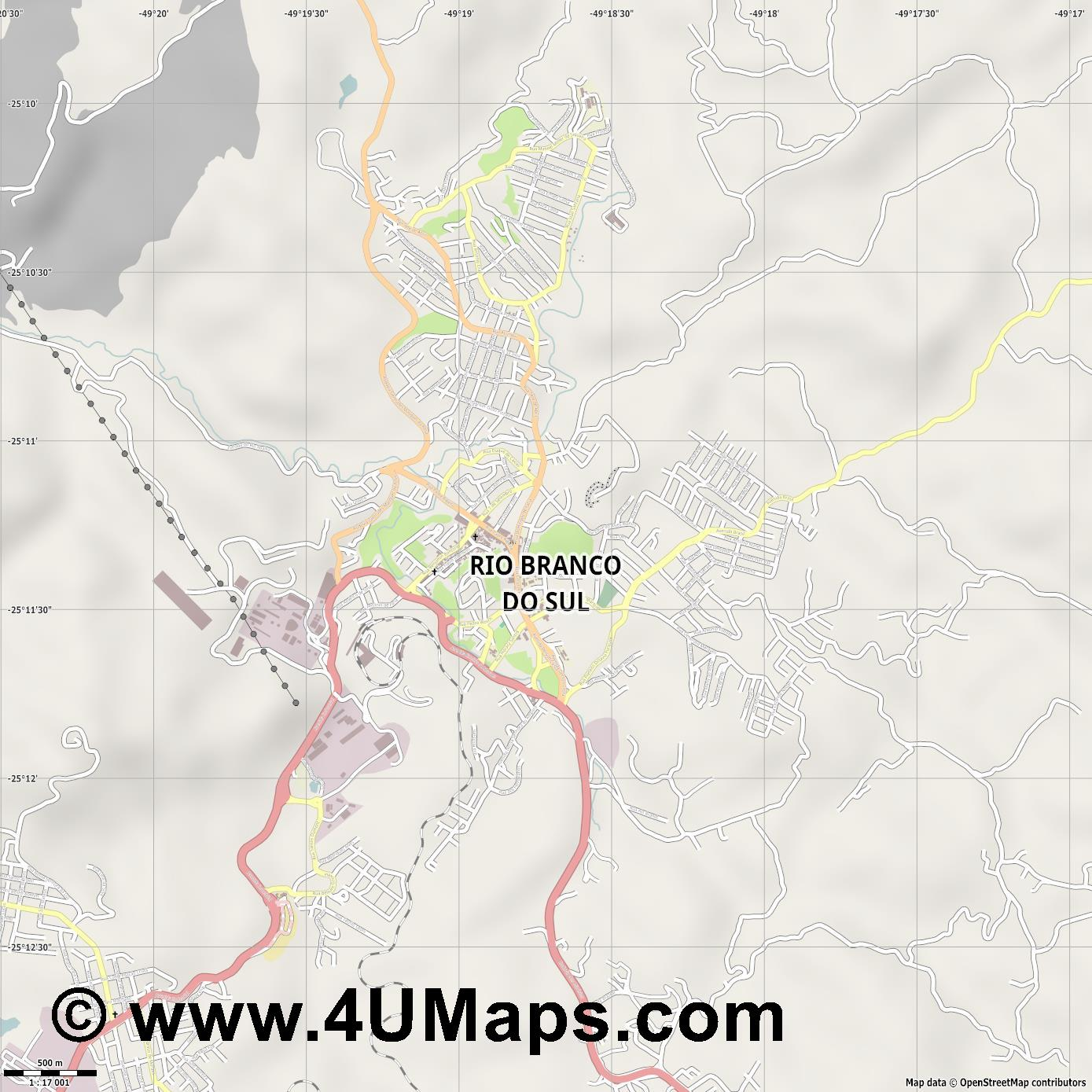 Rio Branco do Sul  jpg ultra high detail preview vector city map