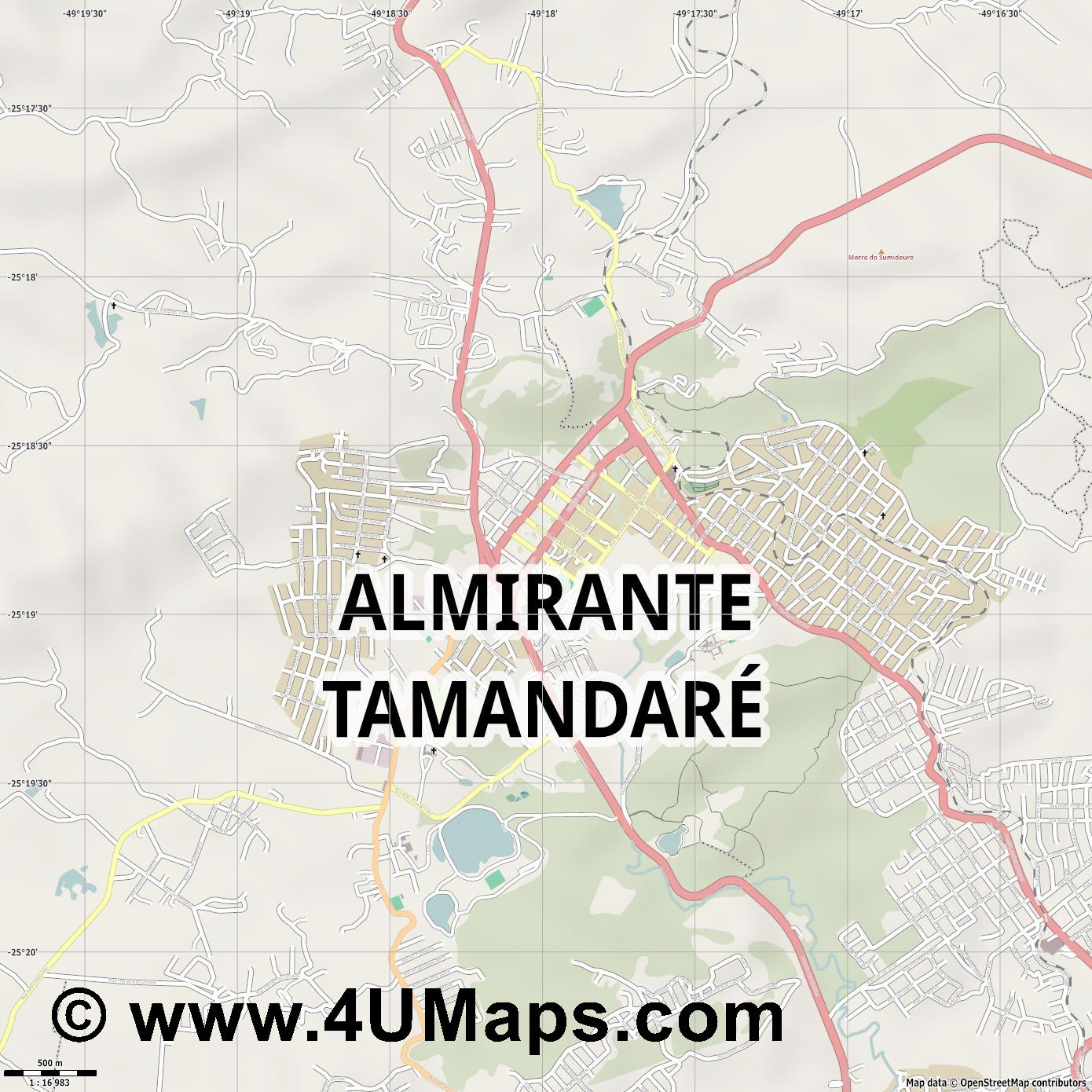 Almirante Tamandaré  jpg ultra high detail preview vector city map