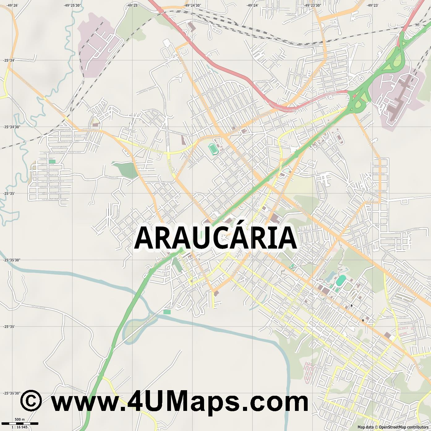 Araucária  jpg ultra high detail preview vector city map