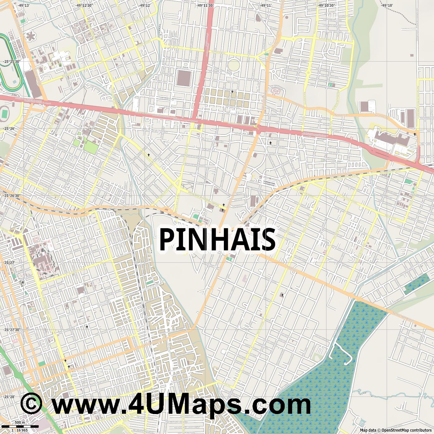Pinhais  jpg ultra high detail preview vector city map