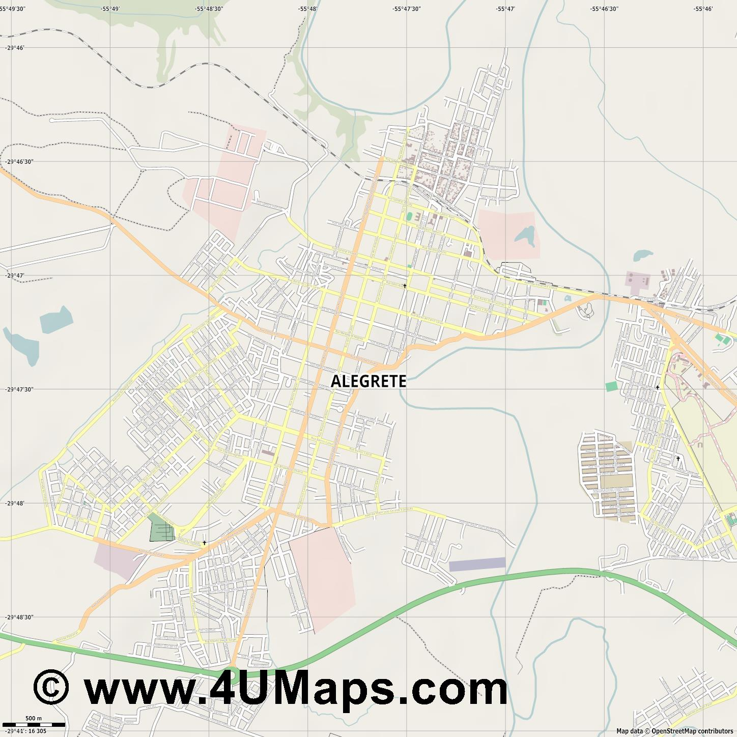 Alegrete  jpg ultra high detail preview vector city map