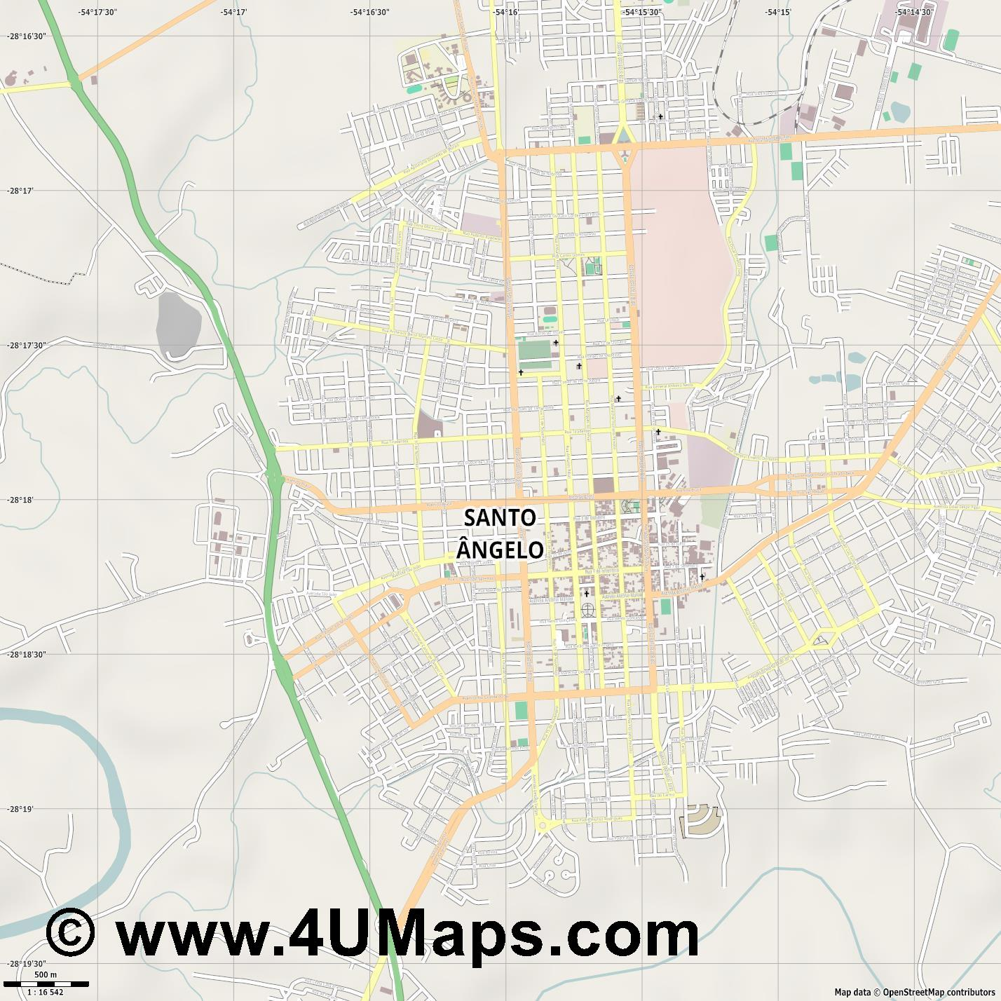 Santo Ângelo  jpg ultra high detail preview vector city map